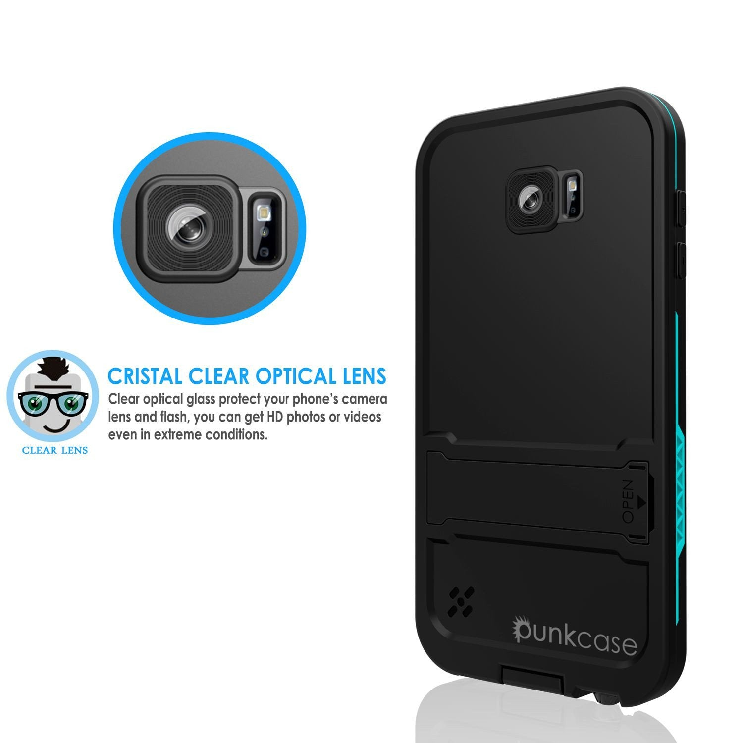 Galaxy S6 Waterproof Case, Punkcase SpikeStar Teal Water/Shock/Dirt/Snow Proof | Lifetime Warranty