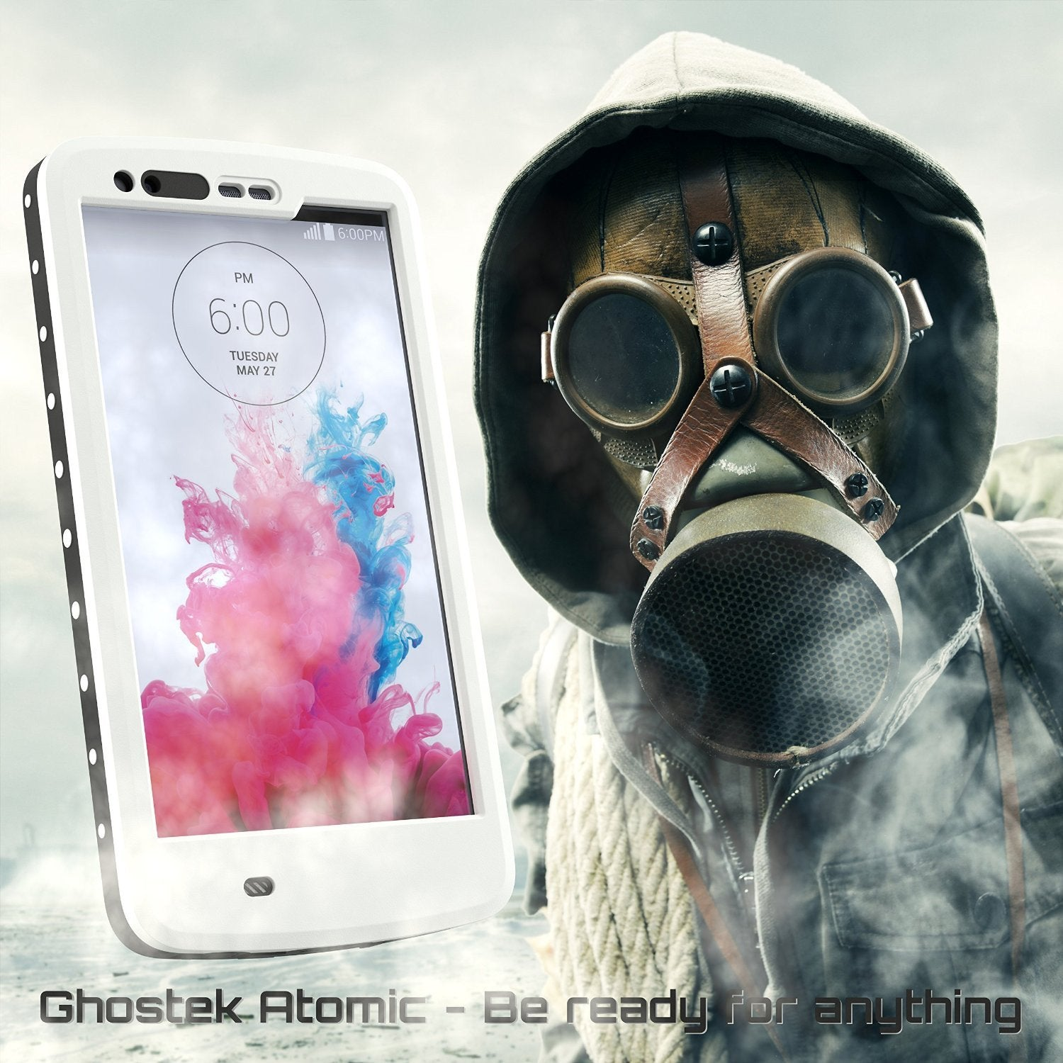 LG G3 Waterproof Case, Ghostek Atomic White W/ Attached Screen Protector LG G3 Slim Fitted