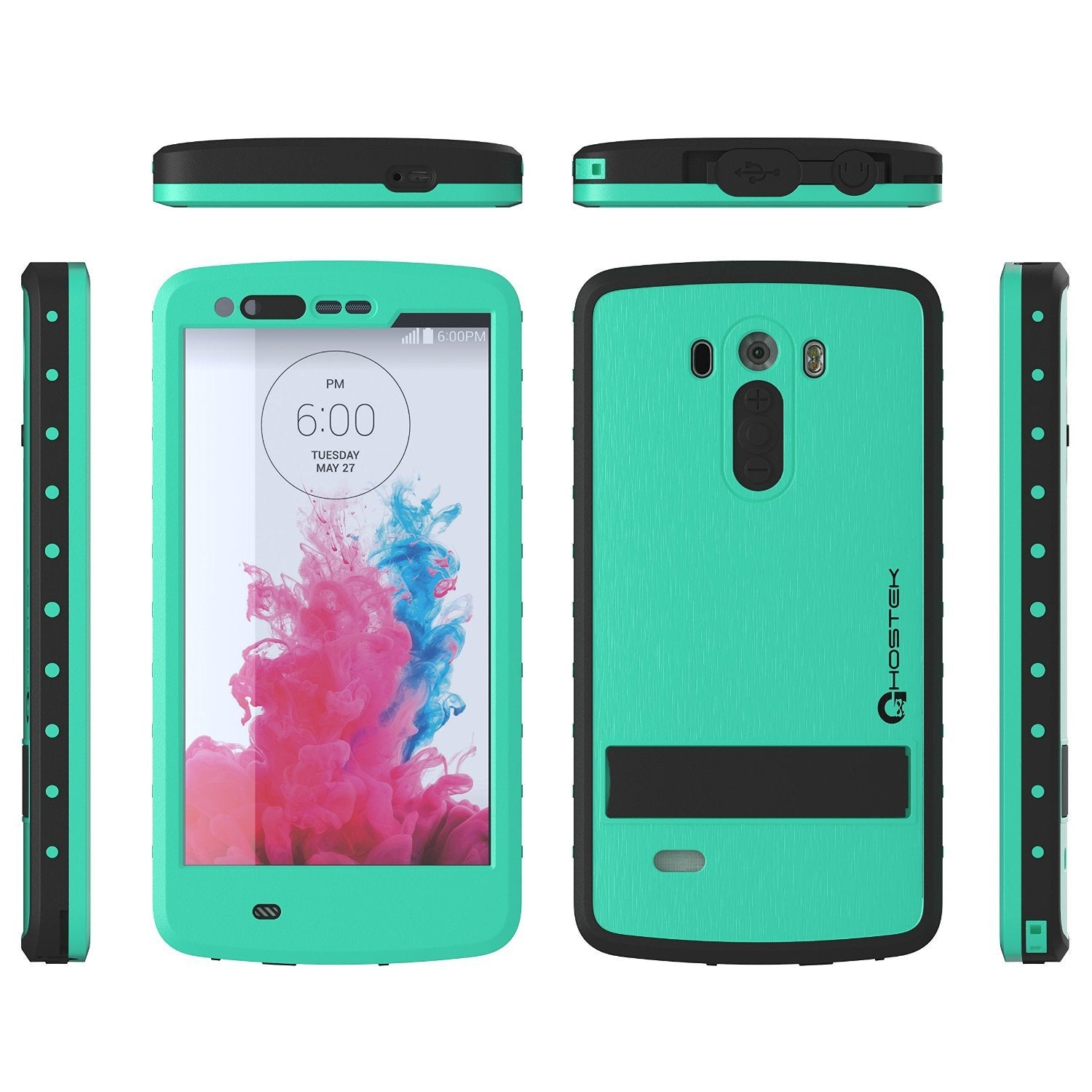 LG G3 Waterproof Case, Ghostek Atomic Teal W/ Attached Screen Protector  Slim Fitted  LG G3