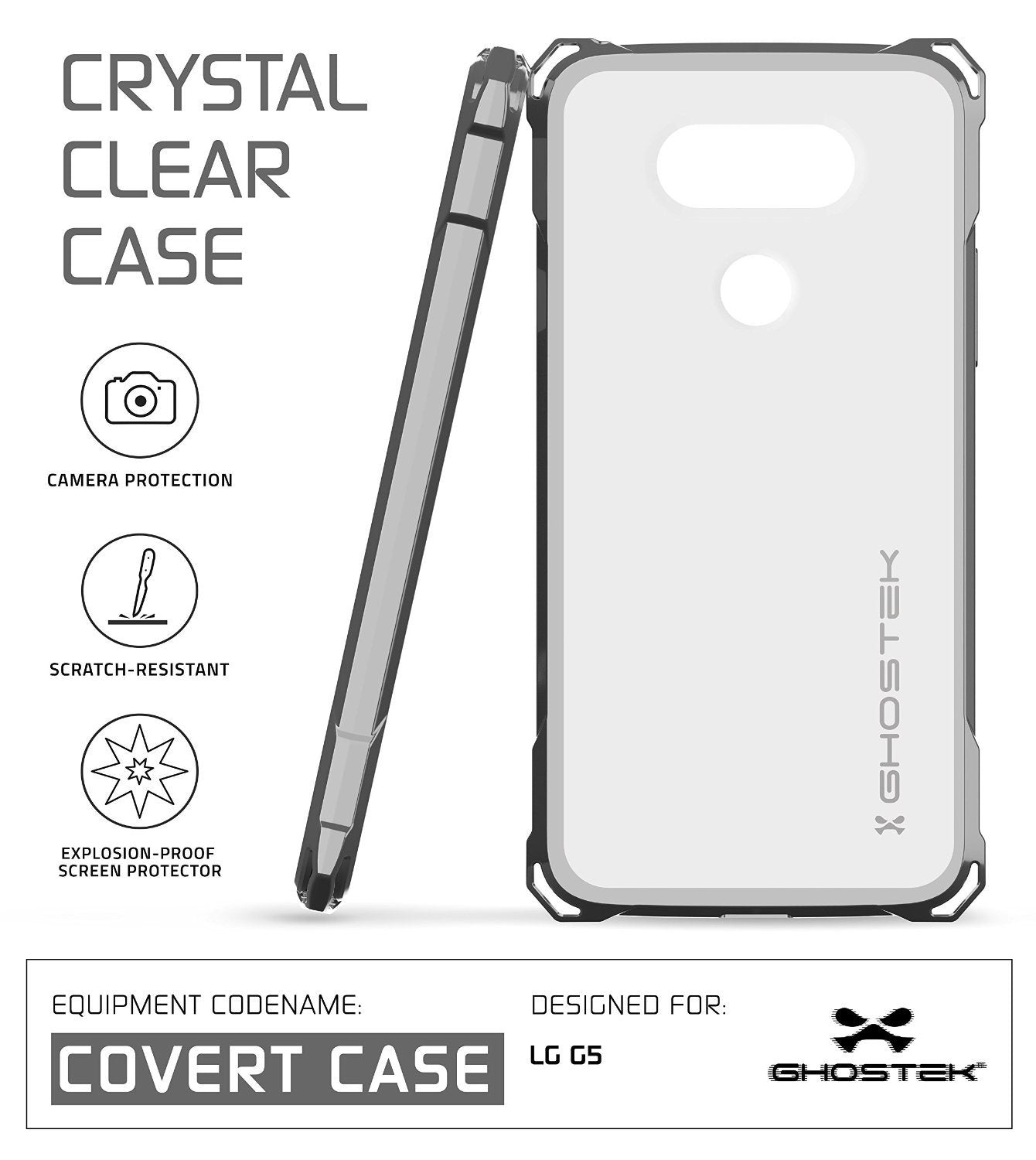 LG G5 Case, Ghostek® Space Grey Covert Premium Hybrid Protective Cover | Lifetime Warranty Exchange