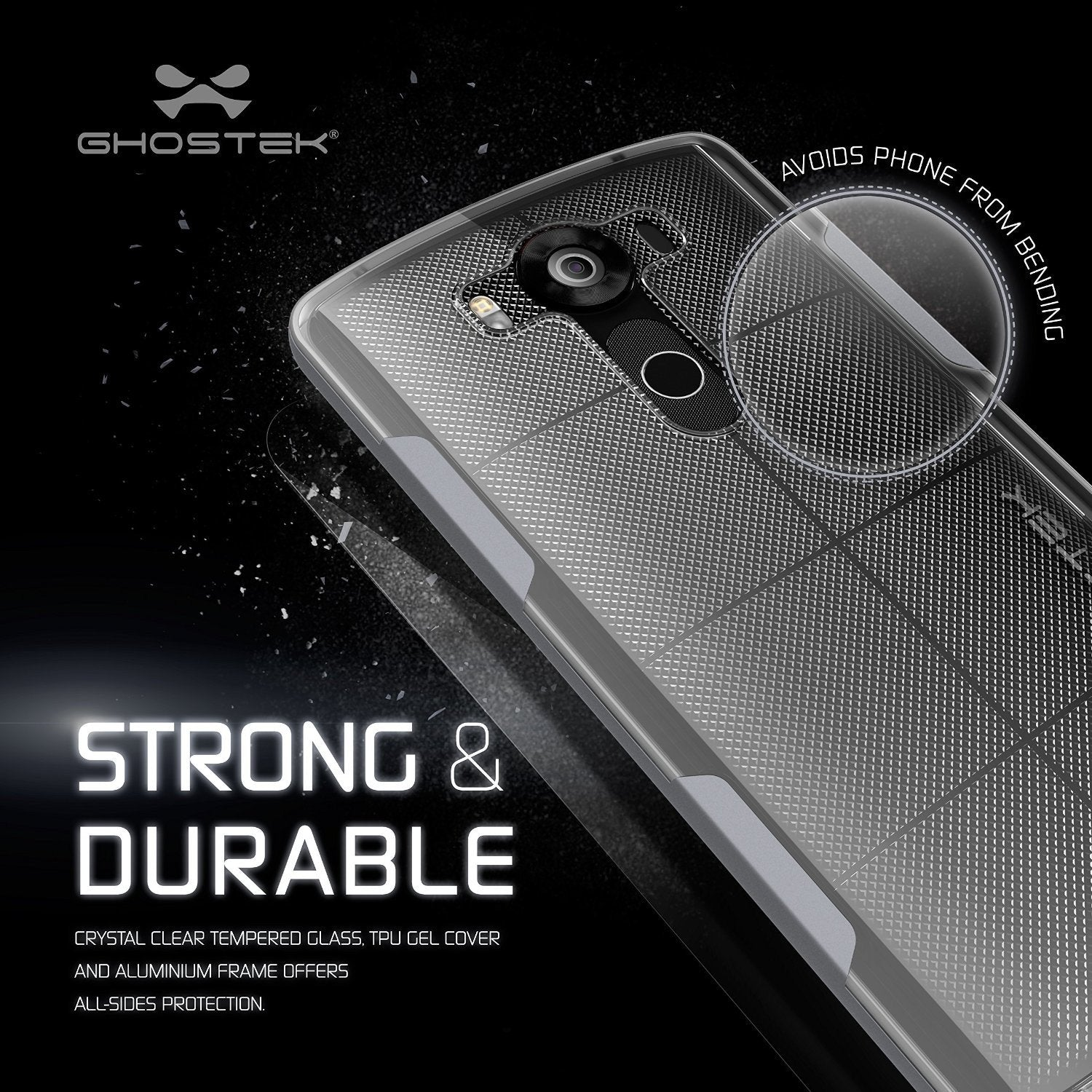 LG V10 Case, Ghostek® Cloak Silver Slim Hybrid Impact Armor Cover | Lifetime Warranty Exchange