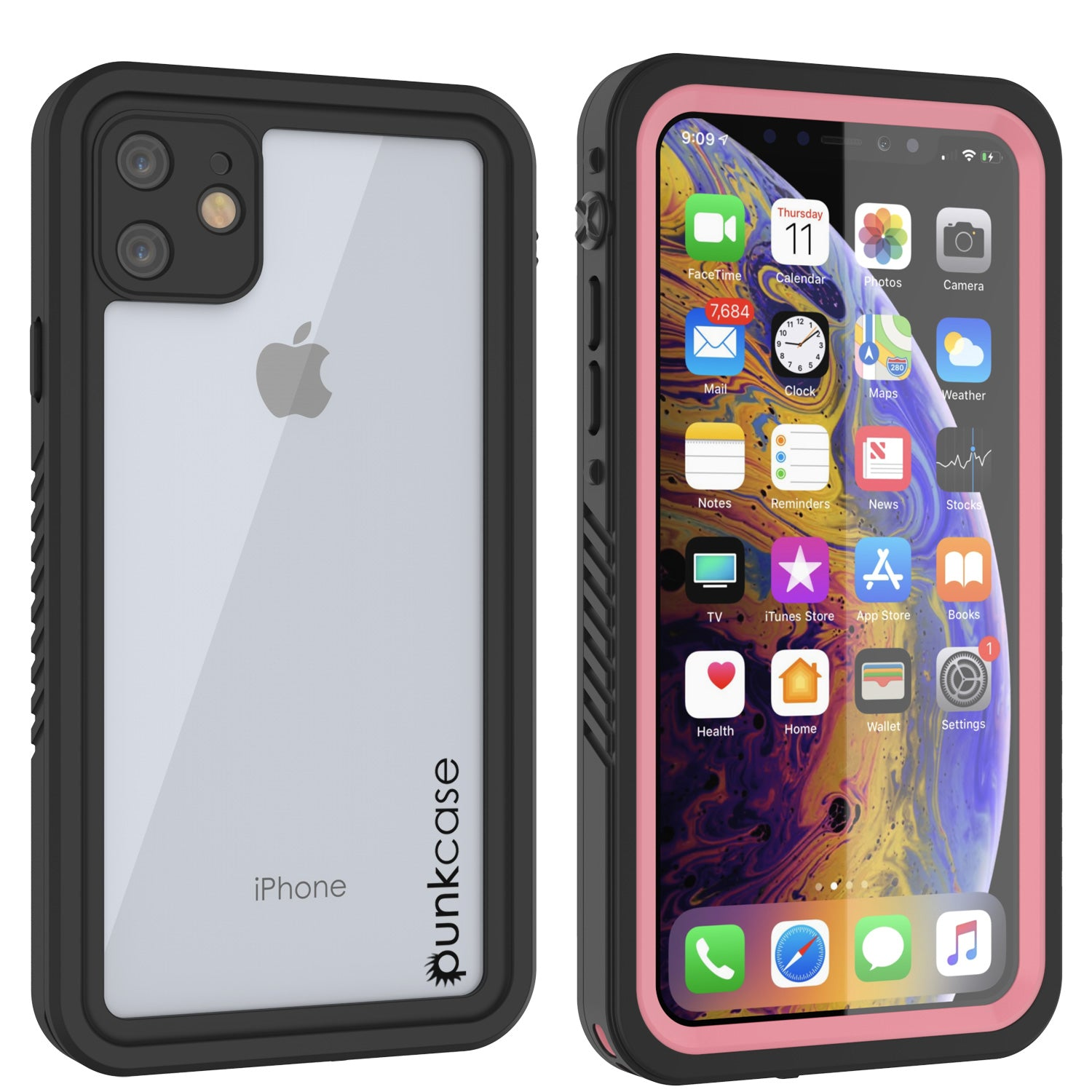 iPhone 11 Waterproof Case, Punkcase [Extreme Series] Armor Cover W/ Built In Screen Protector [Pink]