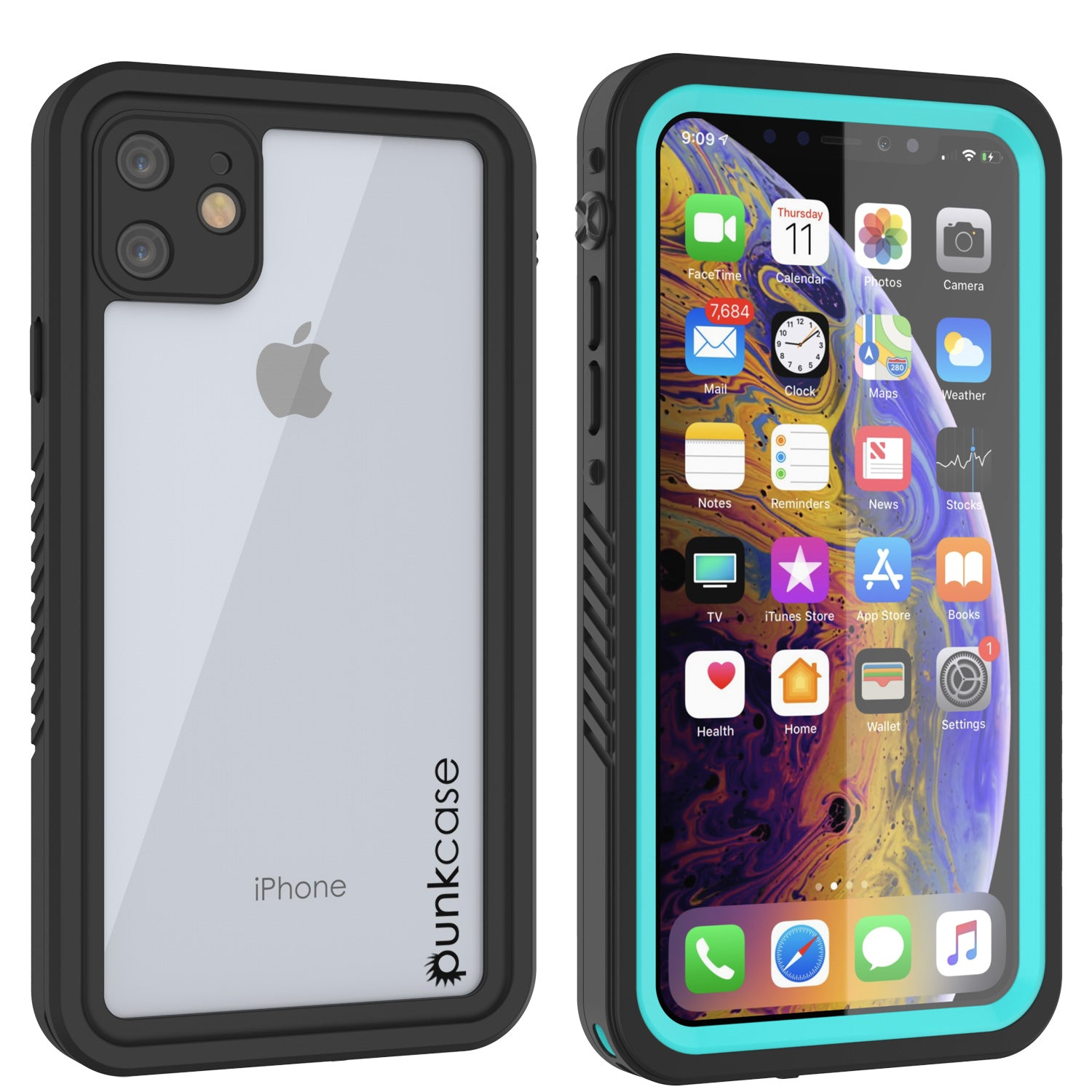 iPhone 11 Waterproof Case, Punkcase [Extreme Series] Armor Cover W/ Built In Screen Protector [Teal]