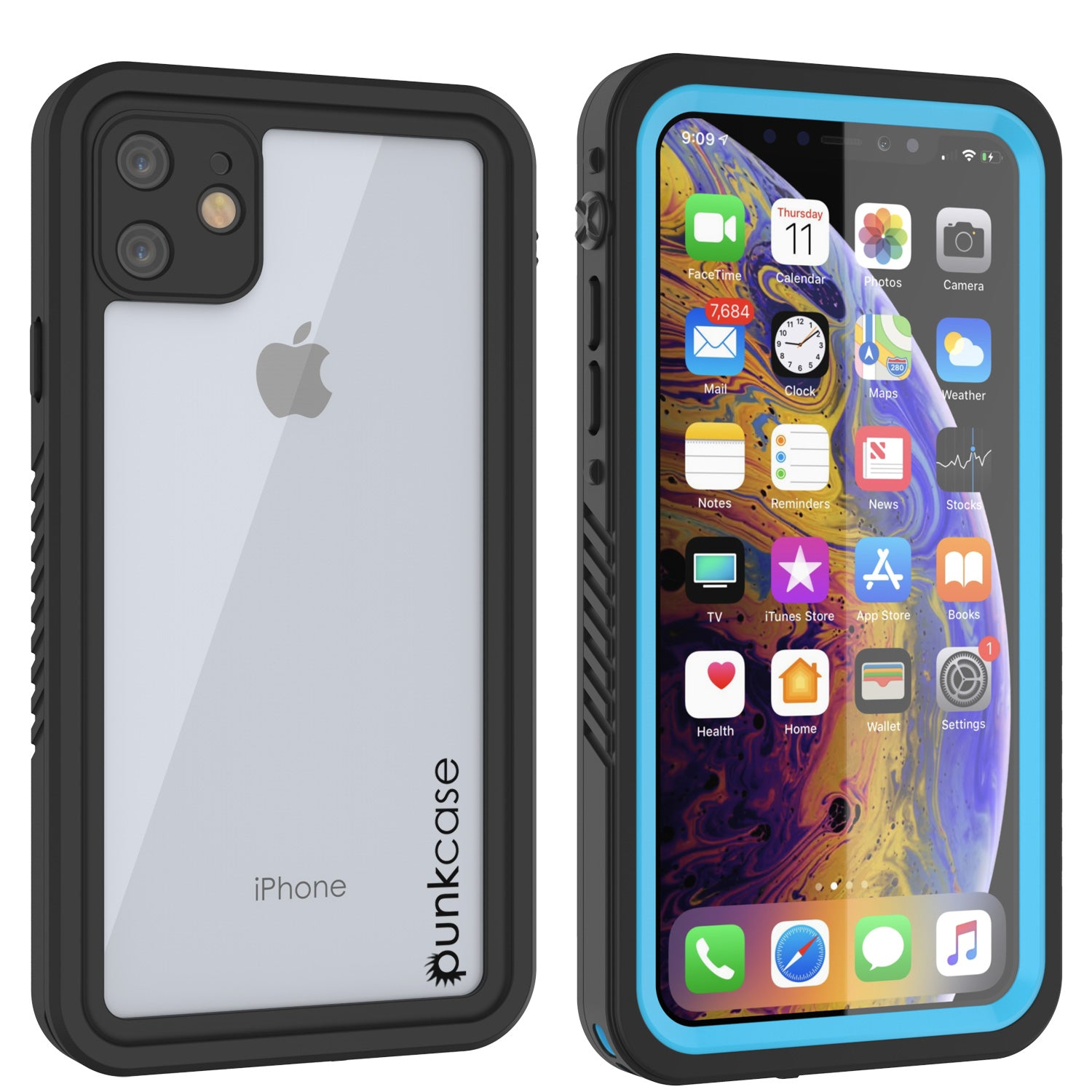 iPhone 11 Waterproof Case, Punkcase [Extreme Series] Armor Cover W/ Built In Screen Protector [Light Blue]