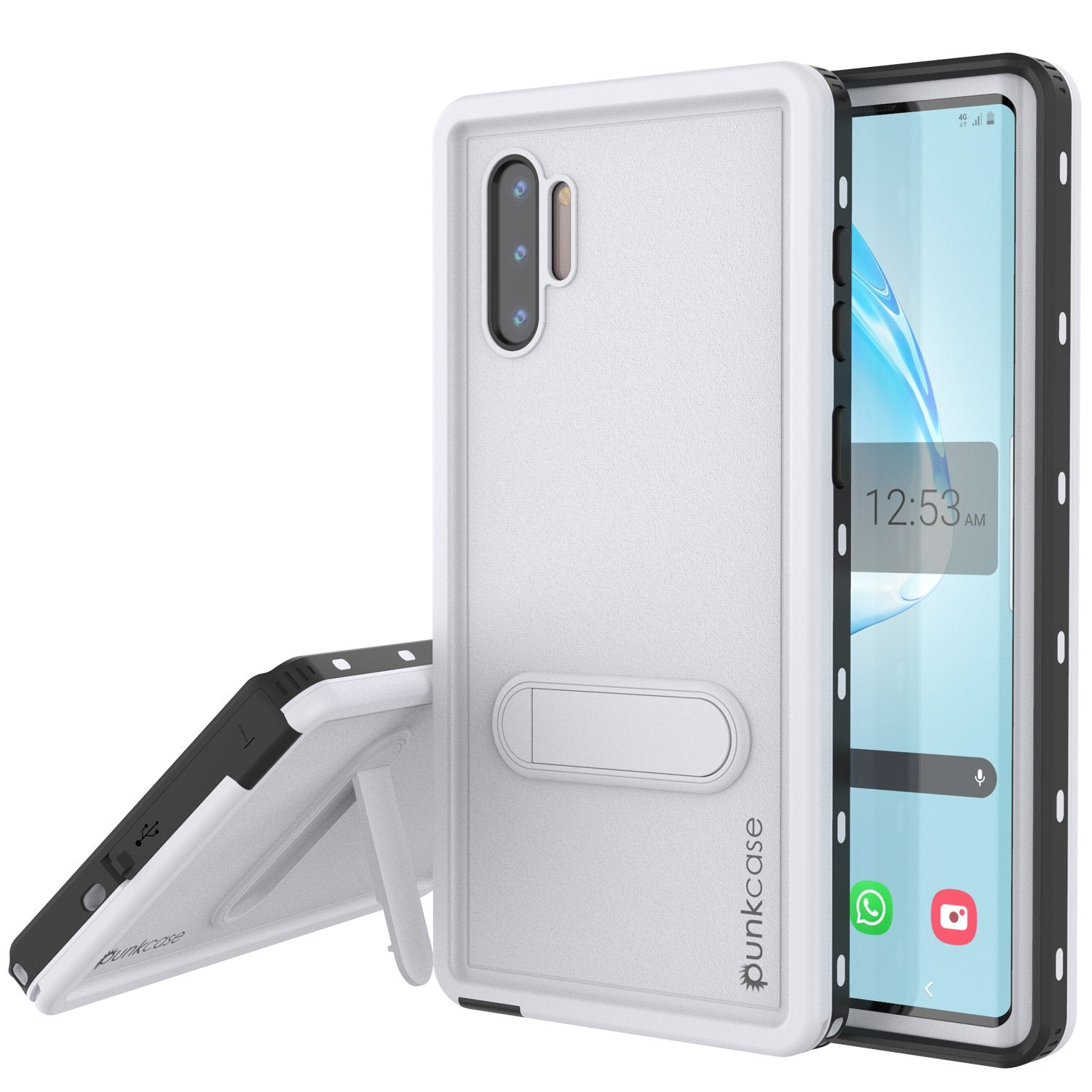 PunkCase Galaxy Note 10 Waterproof Case, [KickStud Series] Armor Cover [White]