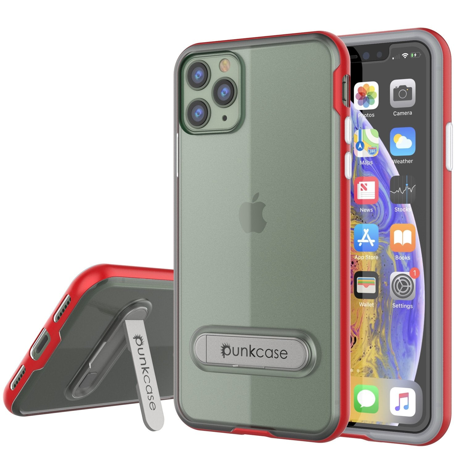 iPhone 12 Pro Case, PUNKcase [LUCID 3.0 Series] [Slim Fit] Protective Cover w/ Integrated Screen Protector [Red]