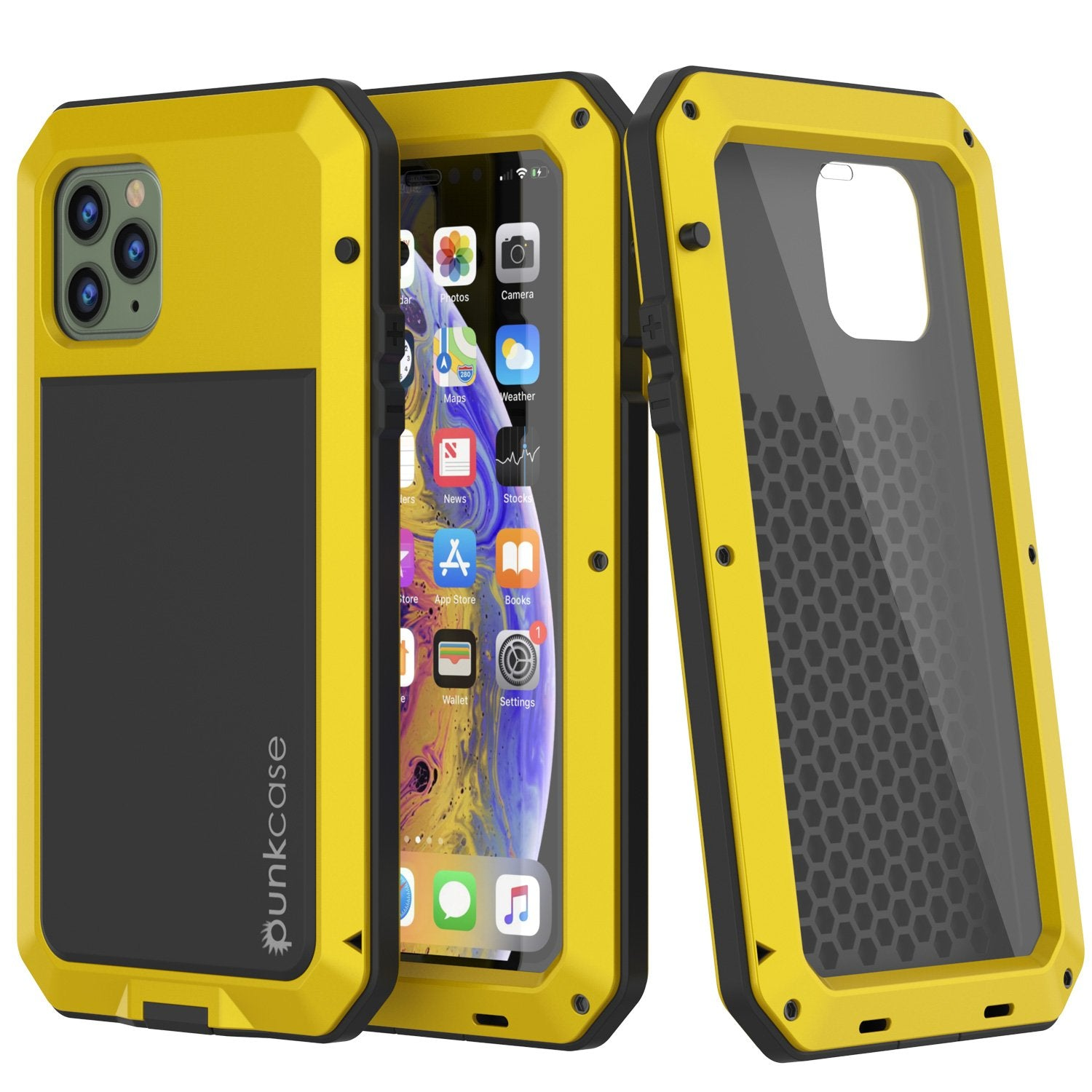 iPhone 11 Pro Max Metal Case, Heavy Duty Military Grade Armor Cover [shock proof] Full Body Hard [Neon]