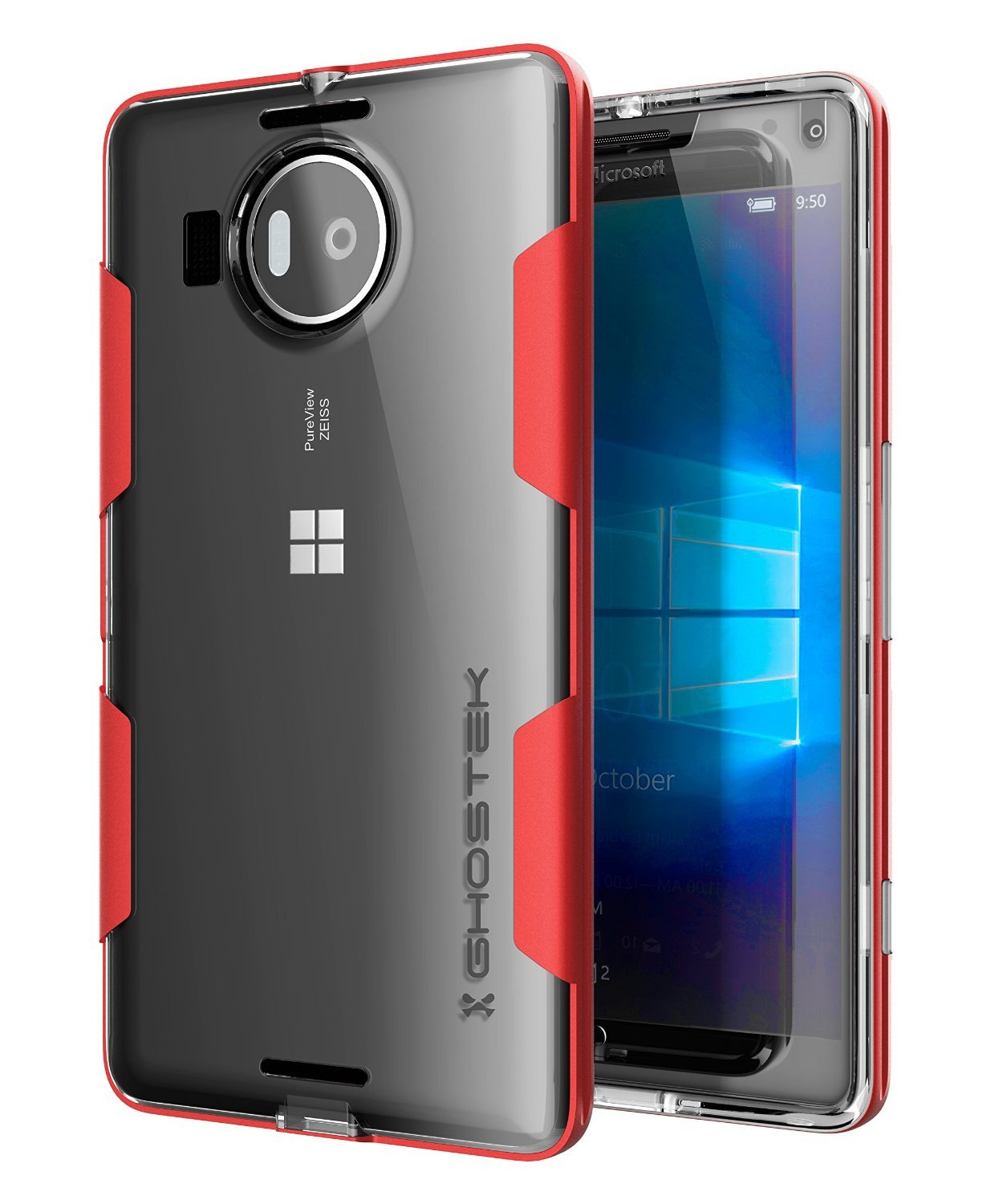 Microsoft 950 XL Case, Ghostek® Cloak Red Slim Hybrid Impact Armor | Lifetime Warranty Exchange