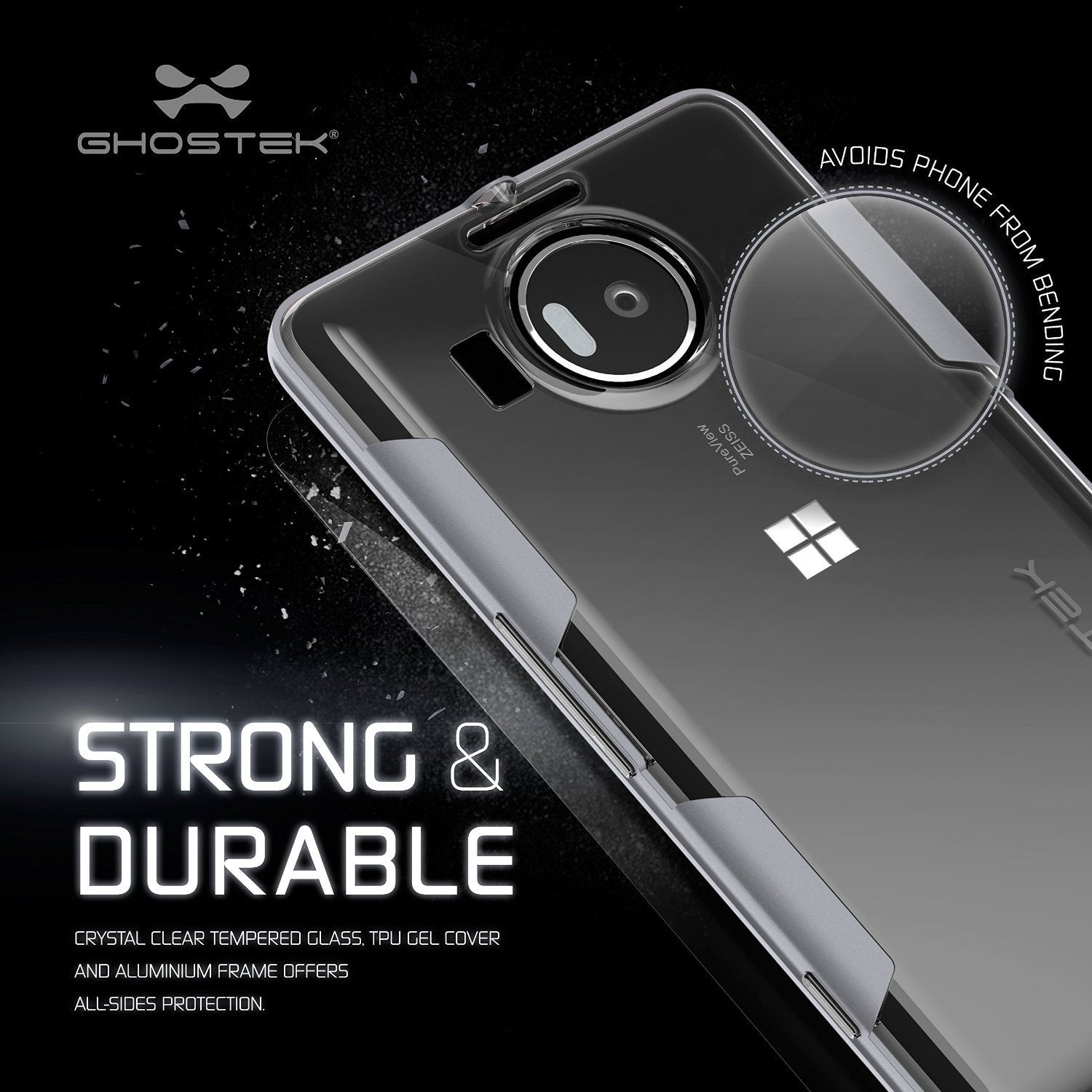 Microsoft Lumia 950 Case Ghostek® Cloak Silver Slim Hybrid Impact Armor | Lifetime Warranty Exchange