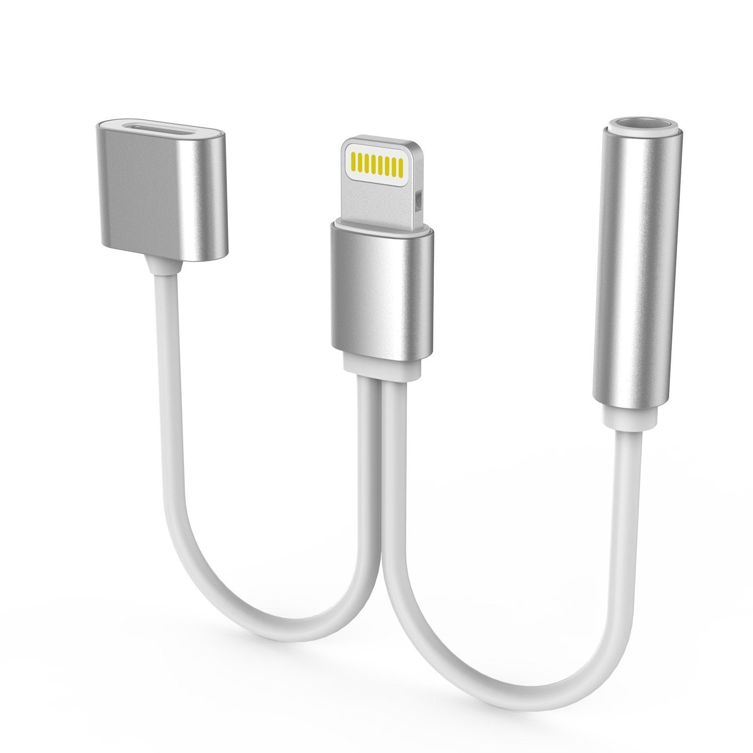 PUNKZAP Lightning Adapter Cable 2 in 1 Splitter Charger [SILVER]