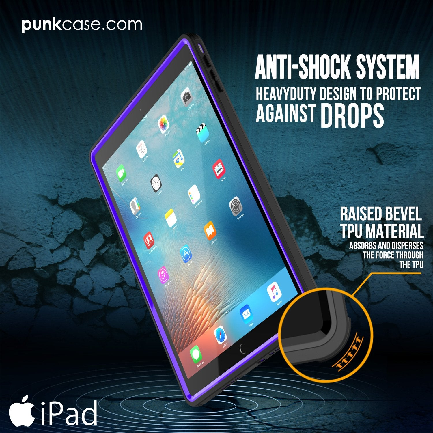 Punkcase iPad Pro 9.7 Case CRYSTAL Series Waterproof Cover [Purple]