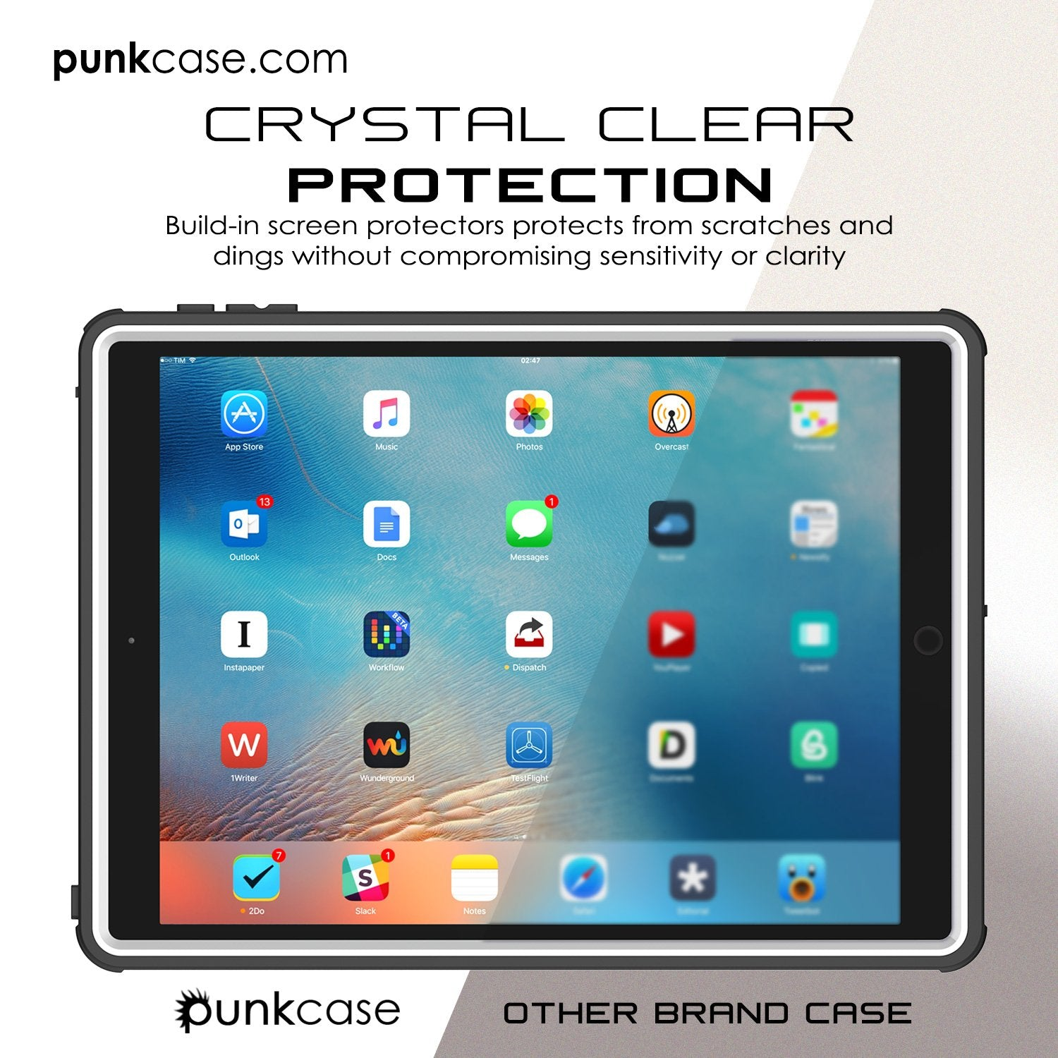Punkcase iPad Pro 9.7 Case CRYSTAL Series Waterproof Cover [White]