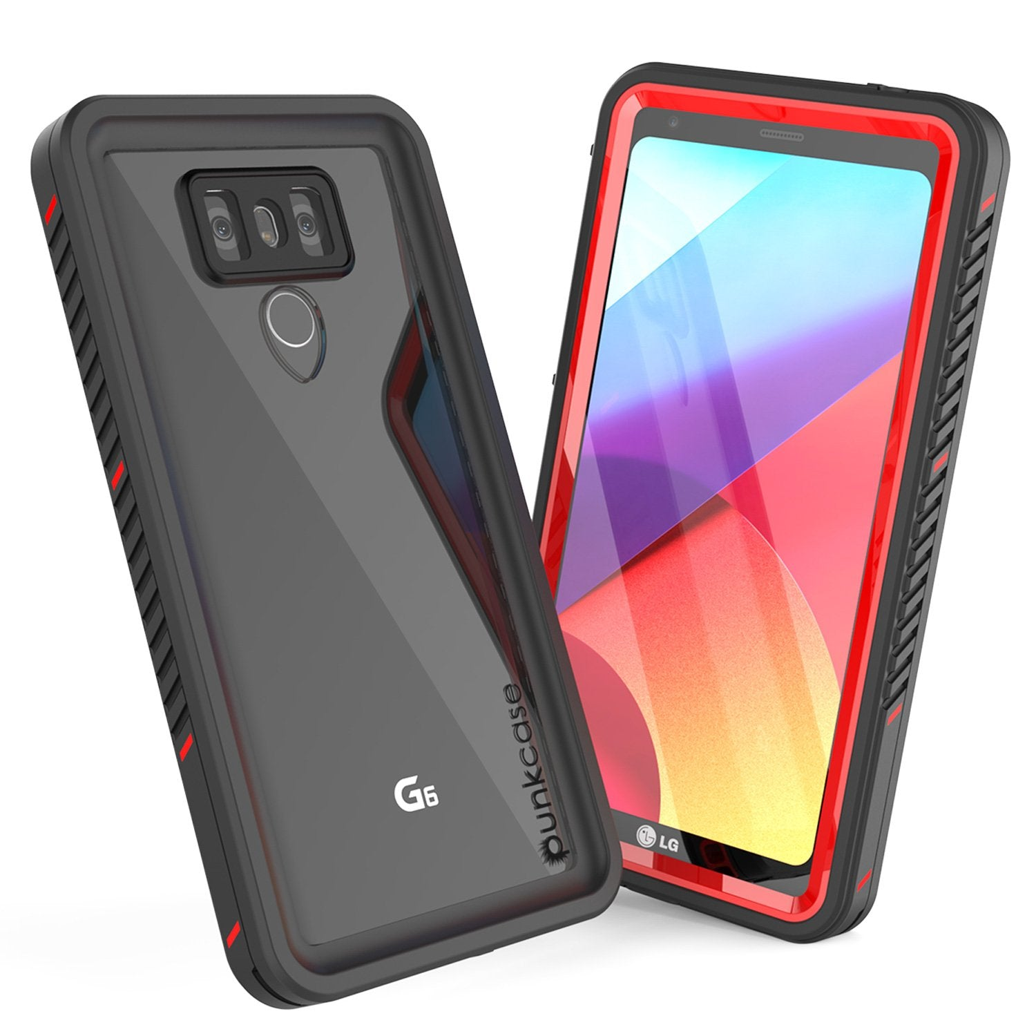 LG G6 Waterproof Case, Punkcase Extreme Series Slim Fit [Red]