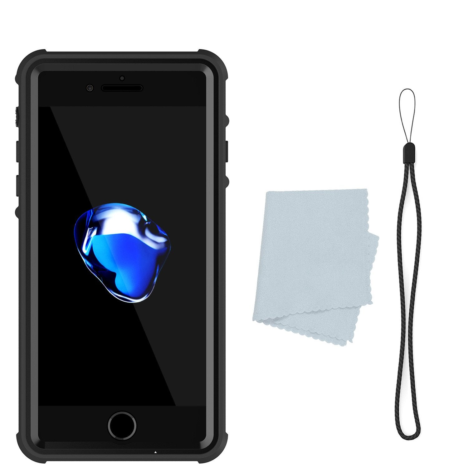 Apple iPhone 7 Waterproof Case, PUNKcase CRYSTAL Black W/ Attached Screen Protector  | Warranty