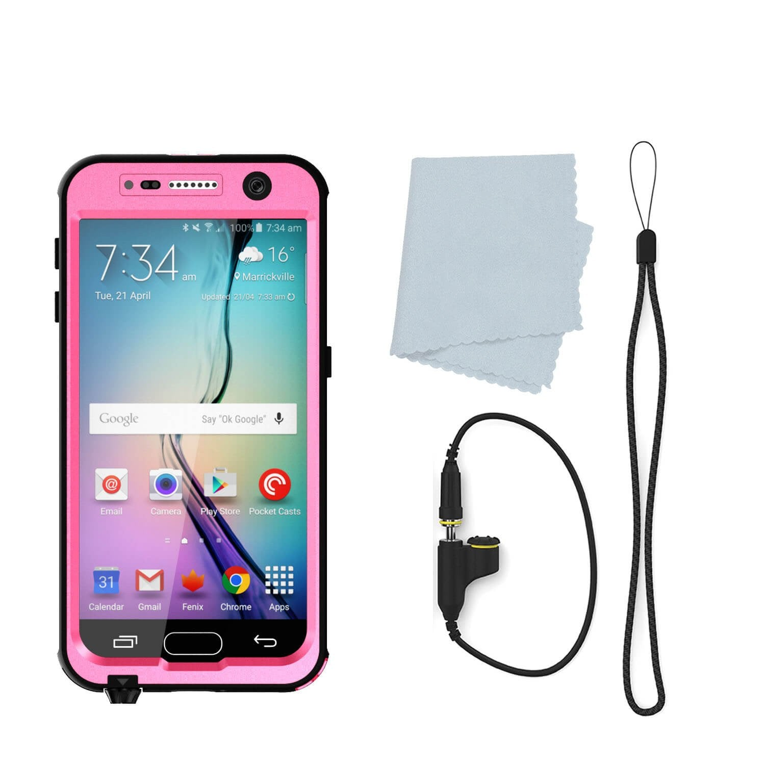 Galaxy S6 Waterproof Case PunkCase StudStar Pink Thin 6.6ft Underwater IP68 Shock/Dirt/Snow Proof