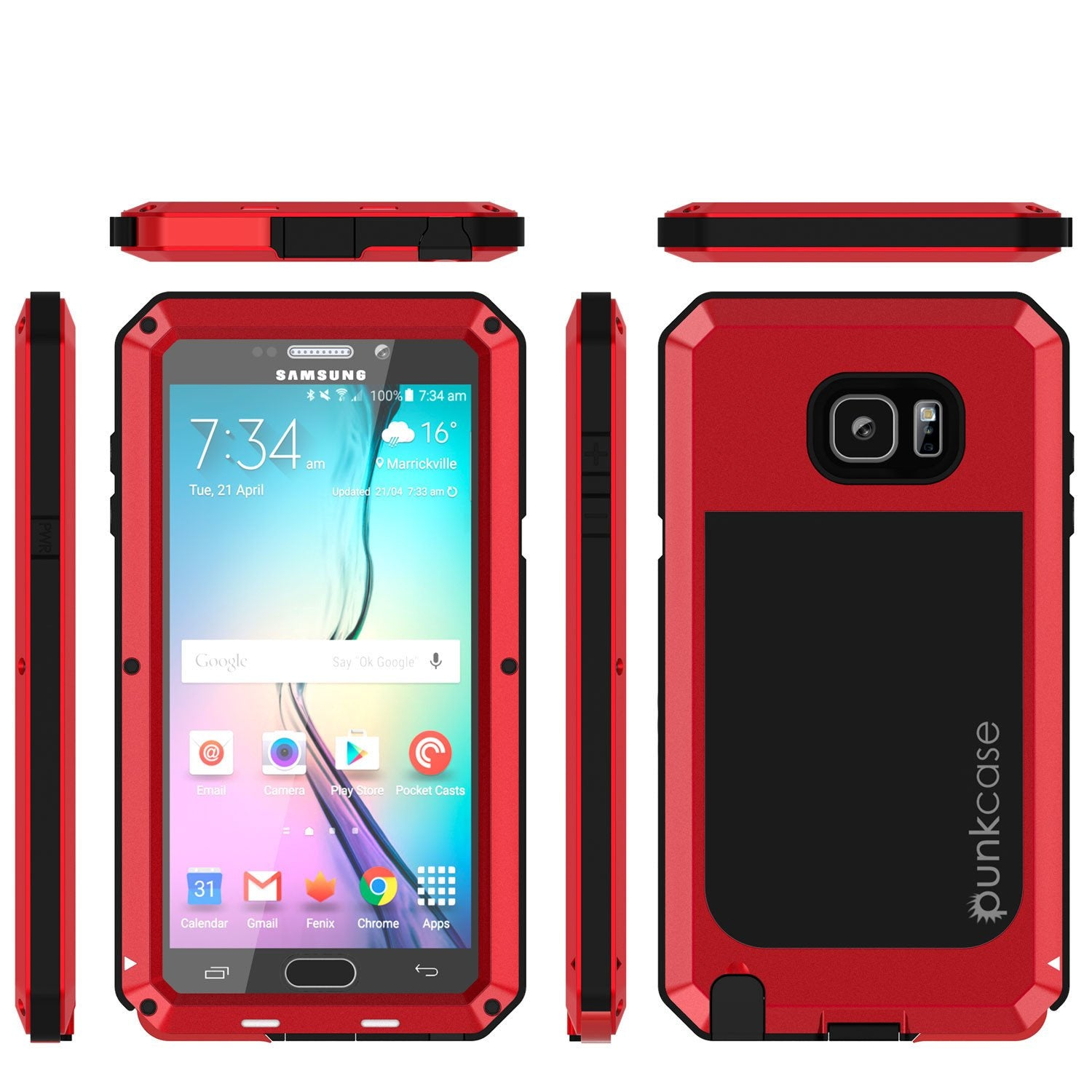 S7 Case, Punkcase® METALLIC Series RED for Samsung Galaxy S7 W/ TEMPERED GLASS | Aluminum Frame