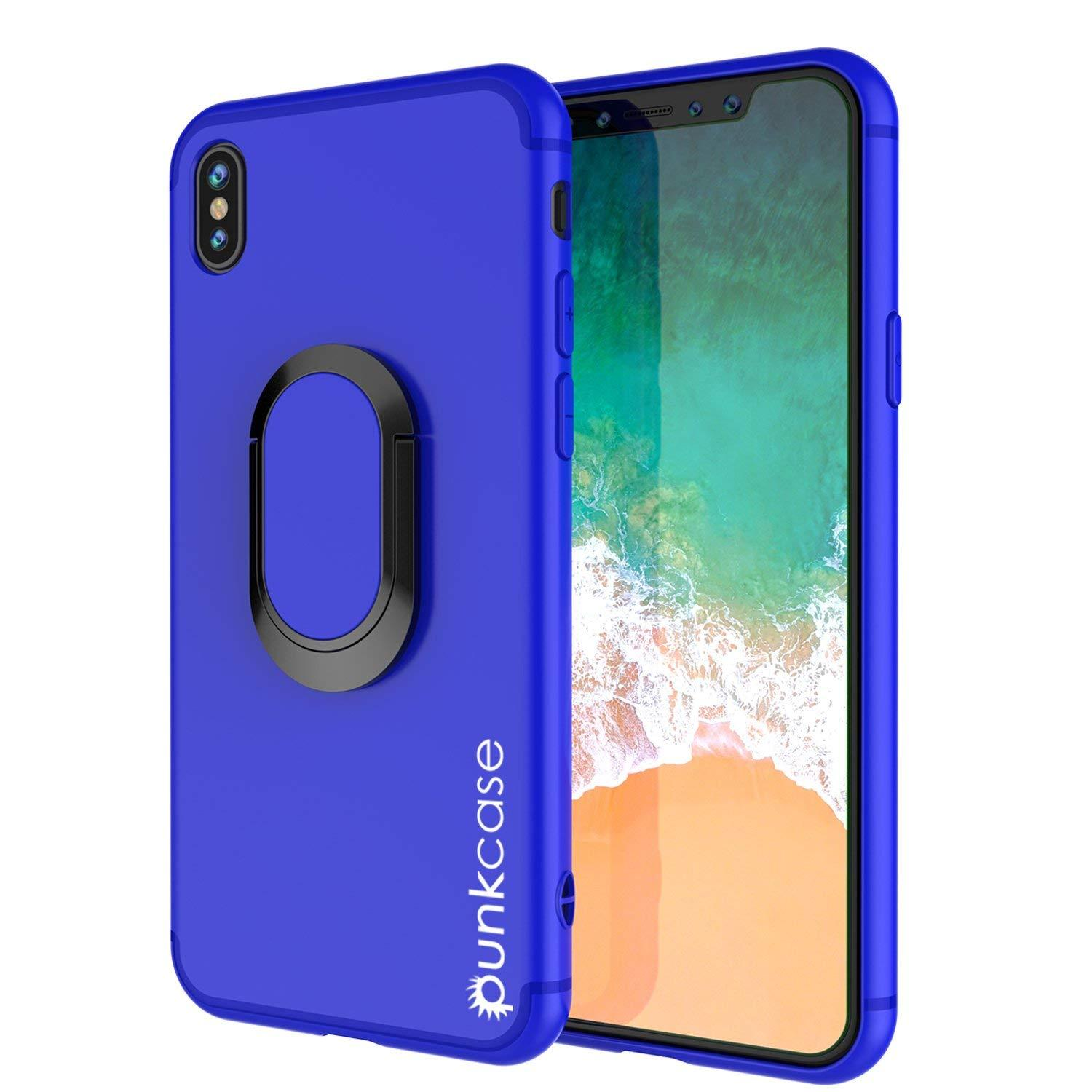 iPhone XR Case, Punkcase Magnetix Protective TPU Cover W/ Kickstand, Tempered Glass Screen Protector [Blue]