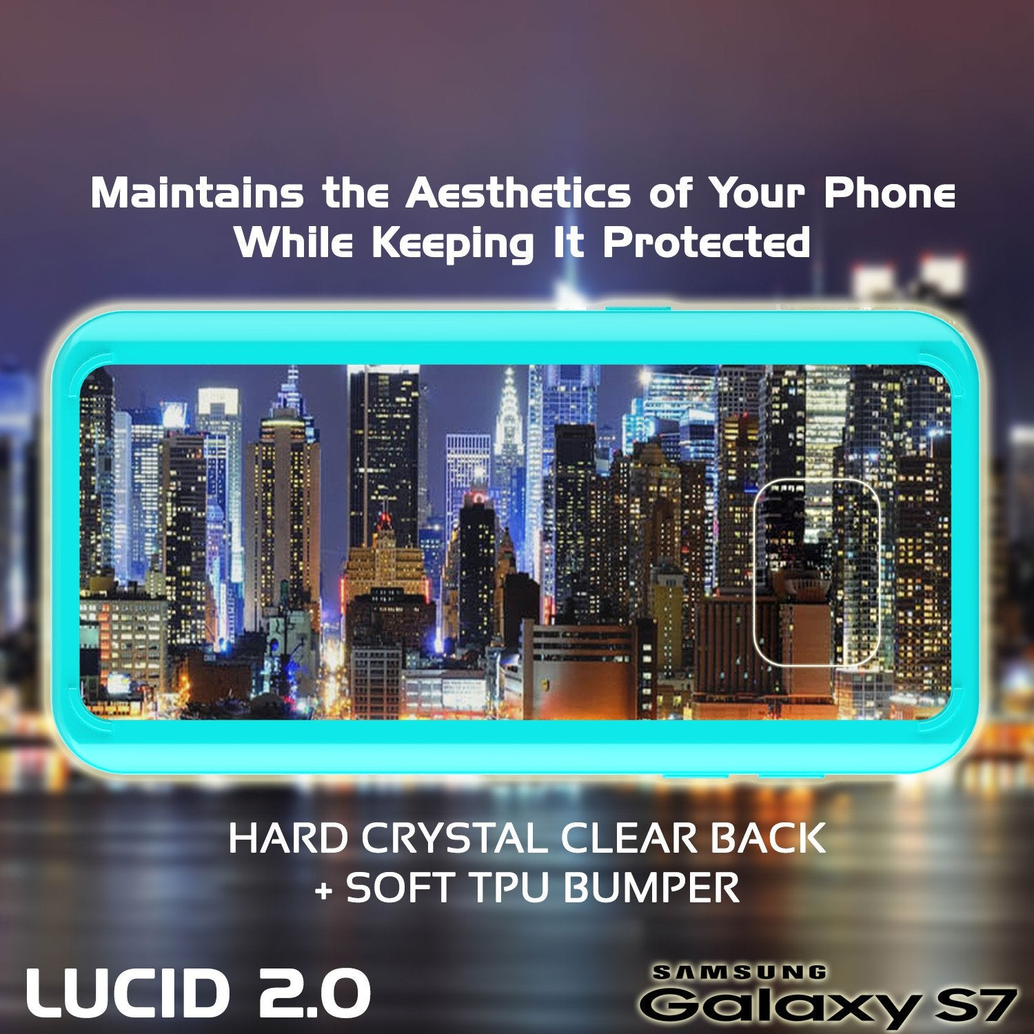 S7 Case Punkcase® LUCID 2.0 Teal Series w/ PUNK SHIELD Glass Screen Protector | Ultra Fit