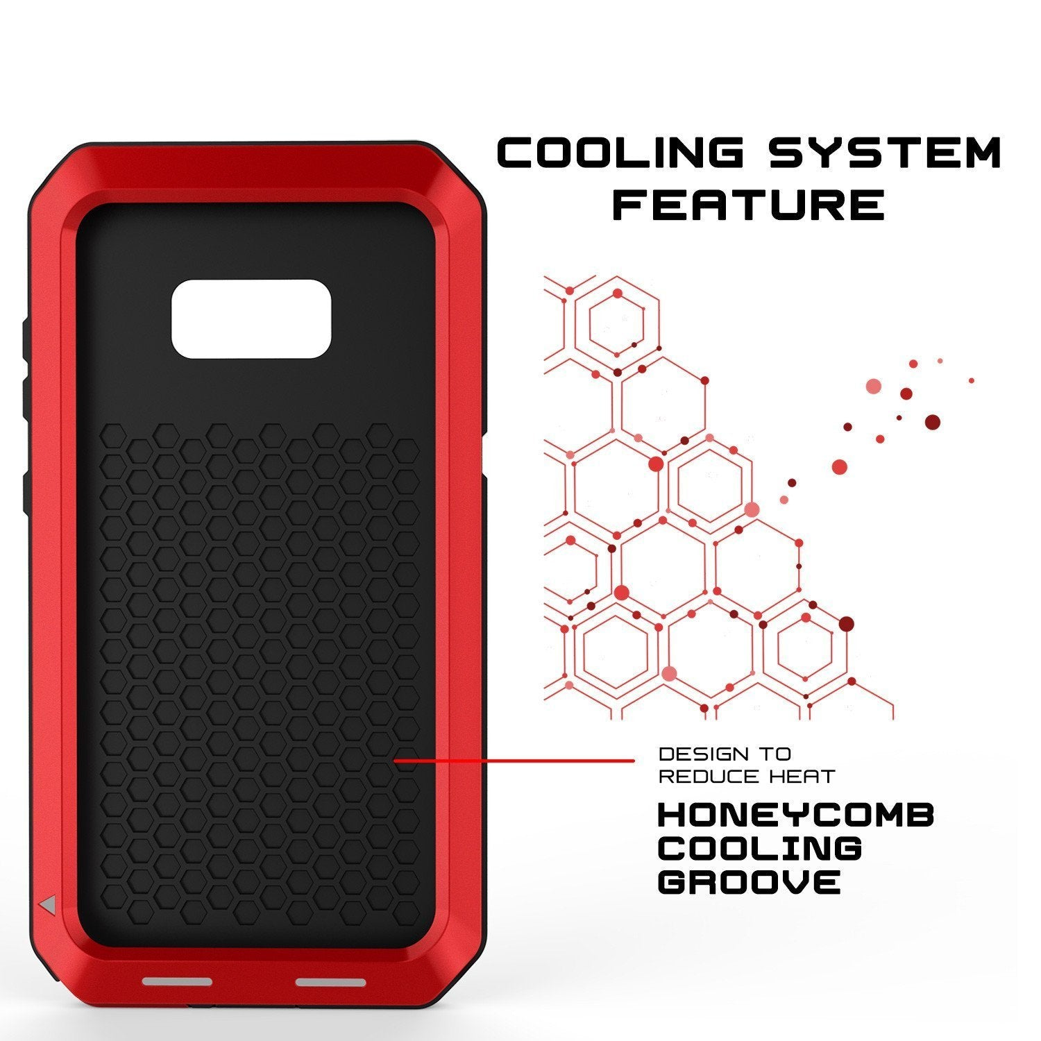 Galaxy Note 8  Case, Punkcase METALLIC Red Shockproof Slim Metal Cover Armor Case