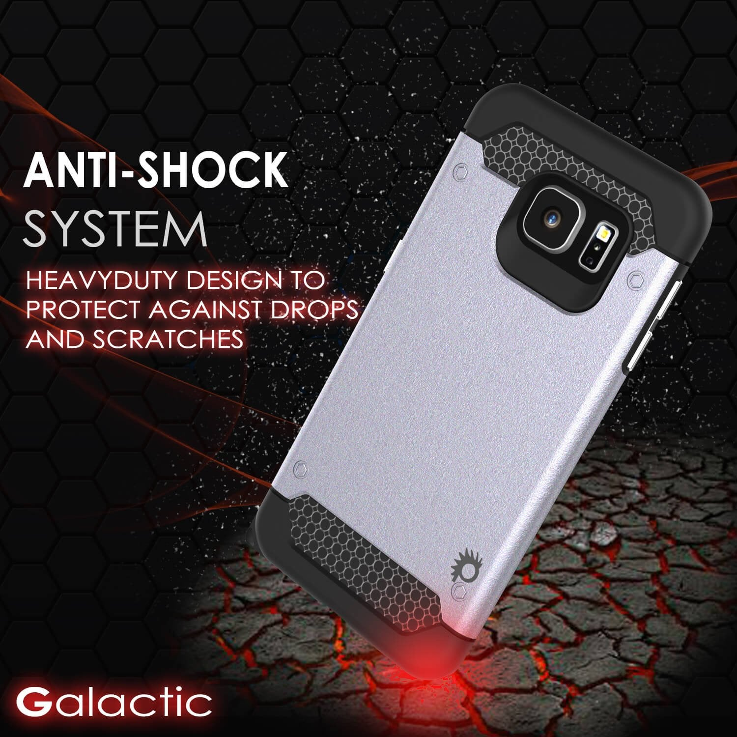 Galaxy s6 EDGE Plus Case PunkCase Galactic SIlver Series Slim Armor Soft Cover w/ Screen Protector
