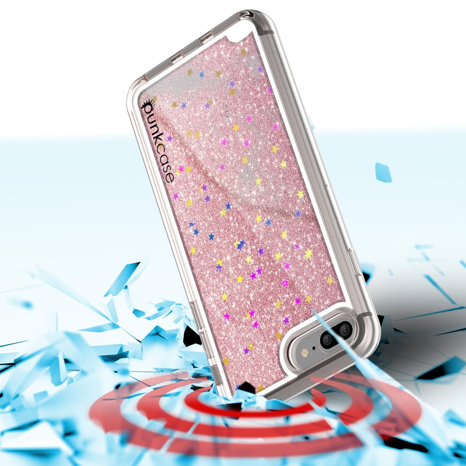 iPhone 7 Plus Case, PunkCase LIQUID Rose Series, Protective Dual Layer Floating Glitter Cover