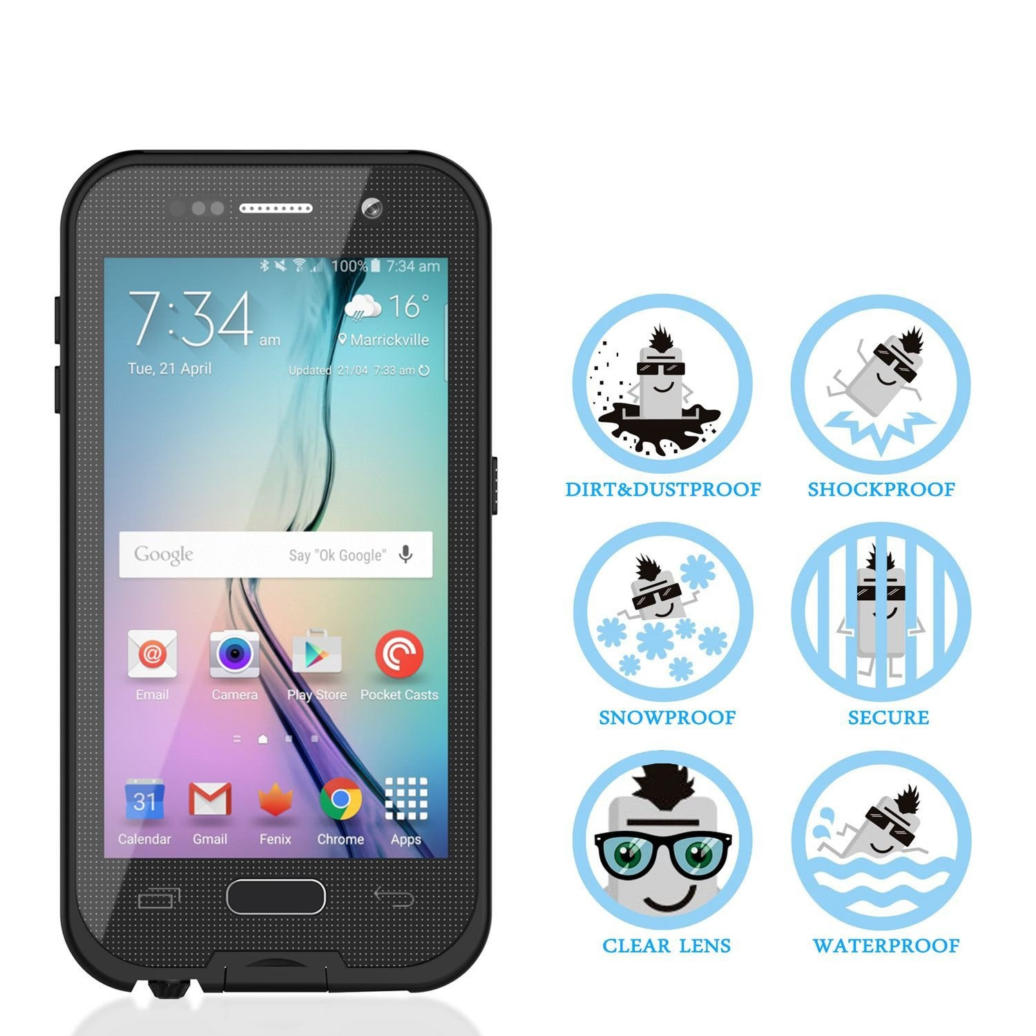 Galaxy S6 Waterproof Case, Punkcase SpikeStar Black Water/Shock/Dirt/Snow Proof | Lifetime Warranty