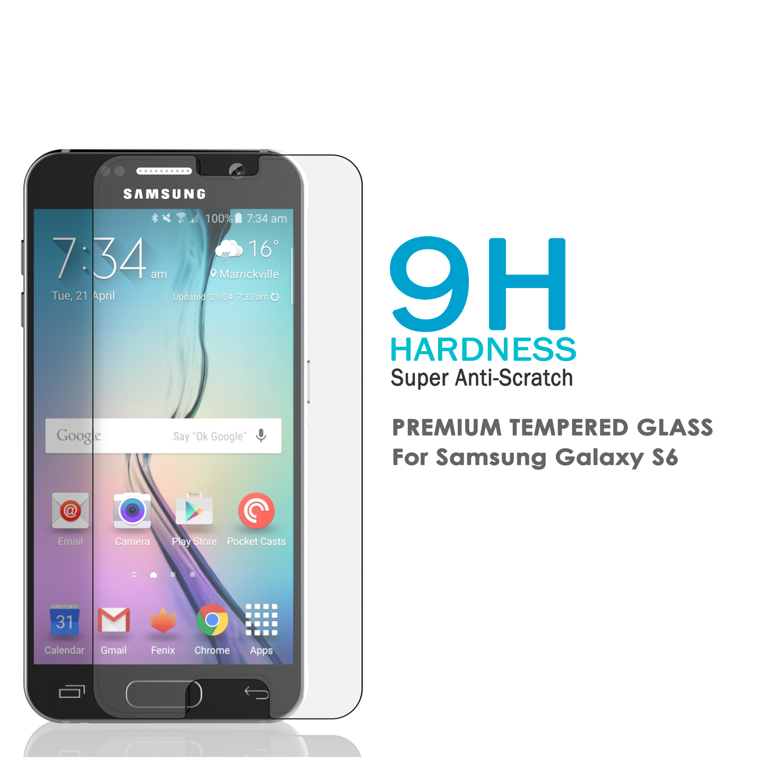 Galaxy S6 Clear Punkcase Glass SHIELD Tempered Glass Screen Protector 0.33mm Thick 9H Glass