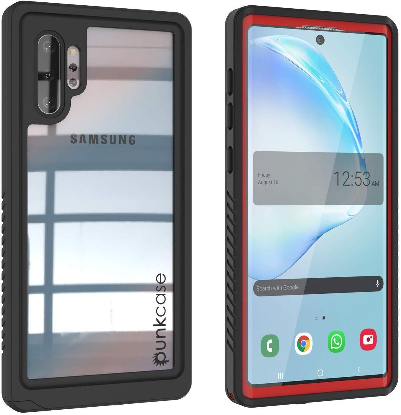 Galaxy Note 10+ Plus Case, Punkcase [Extreme Series] Armor Cover W/ Built In Screen Protector [Red]