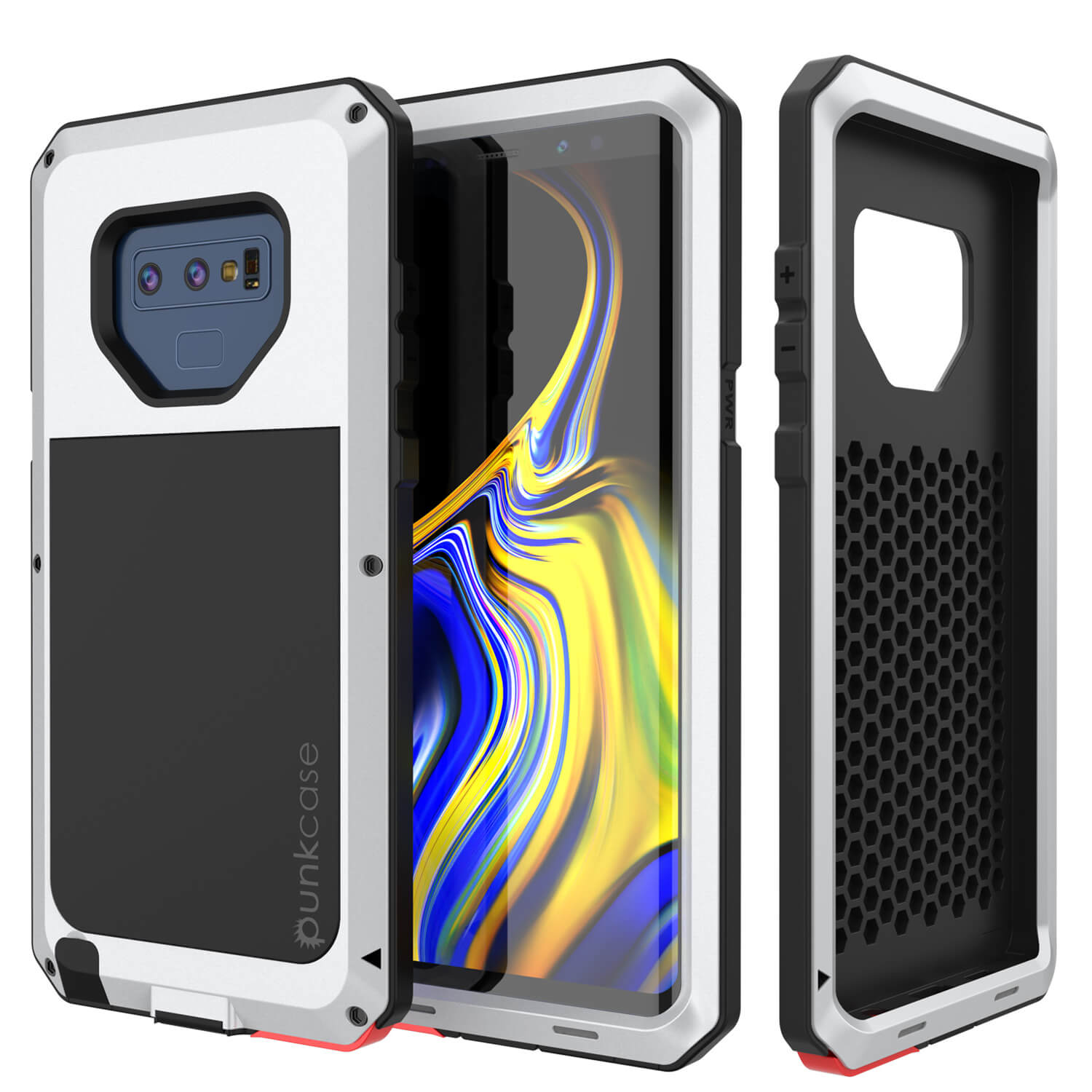Galaxy Note 9  Case, PUNKcase Metallic White Shockproof  Slim Metal Armor Case [White]