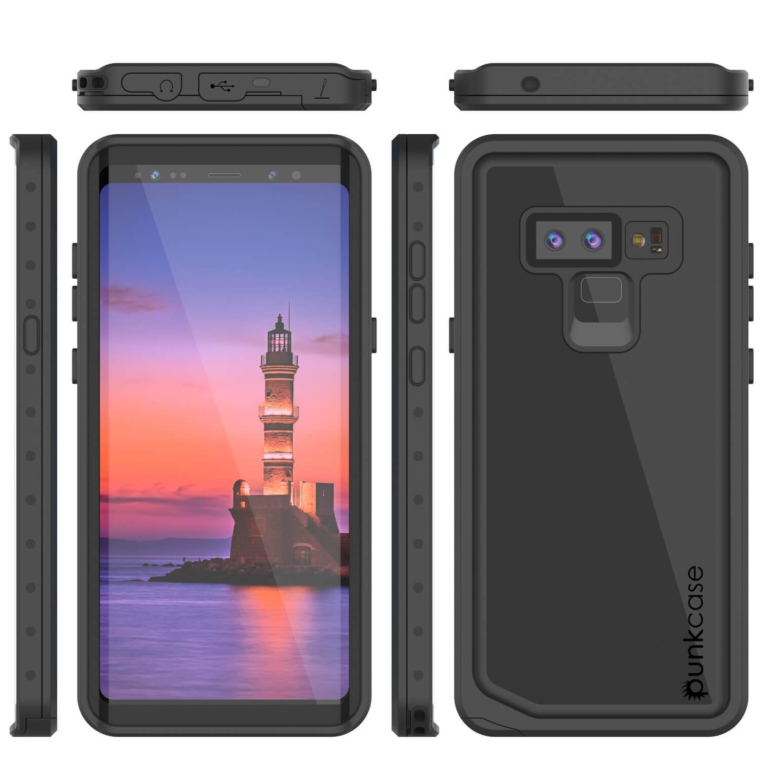 Galaxy Note 9 Waterproof Case PunkCase StudStar Black Thin 6.6ft Underwater Shock/Snow Proof