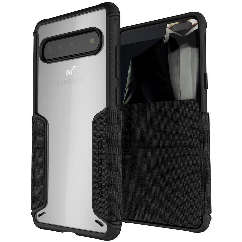 EXEC 3 for Galaxy S10 5G Leather Flip Wallet Case [Black]