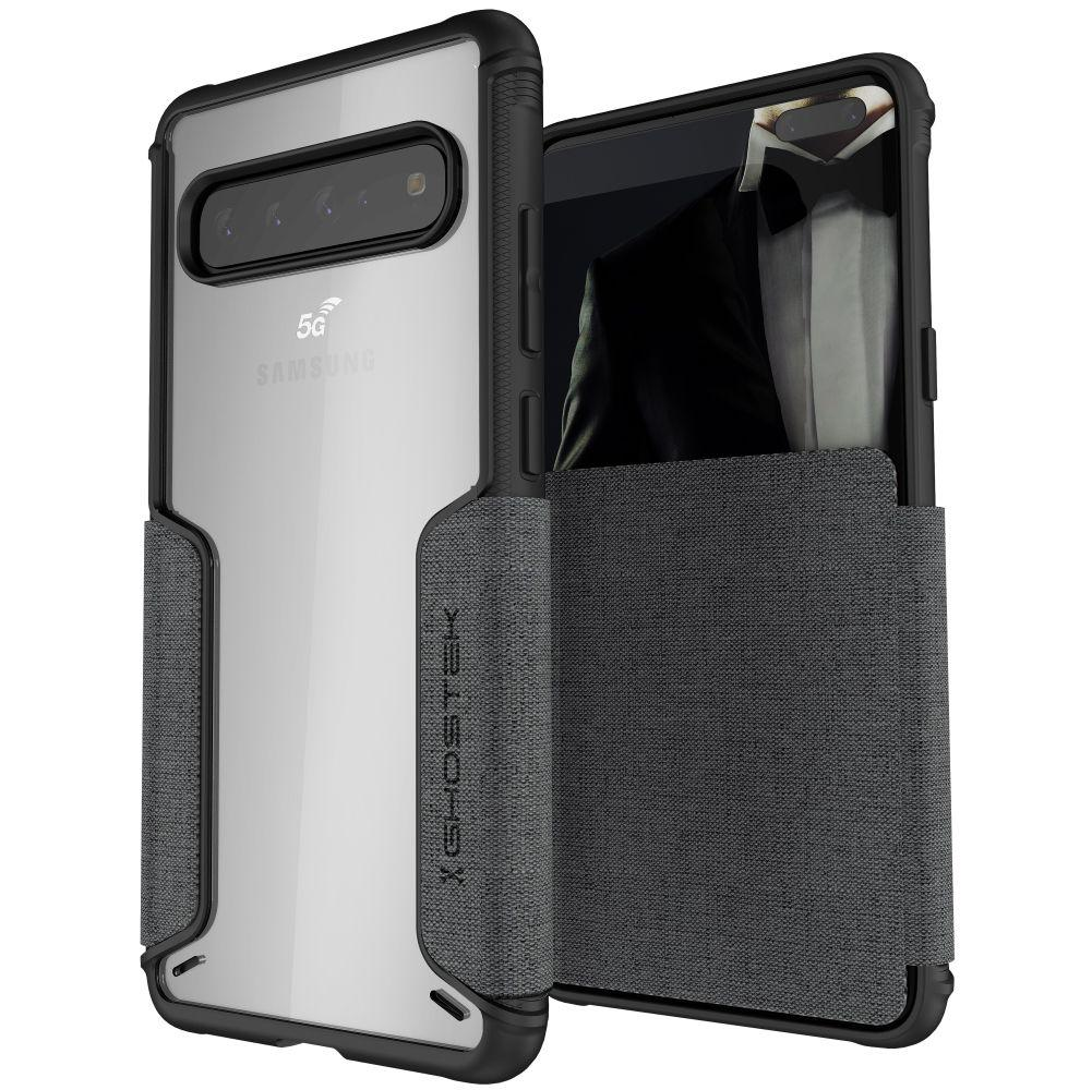 EXEC 3 for Galaxy S10 5G Leather Flip Wallet Case [Grey]