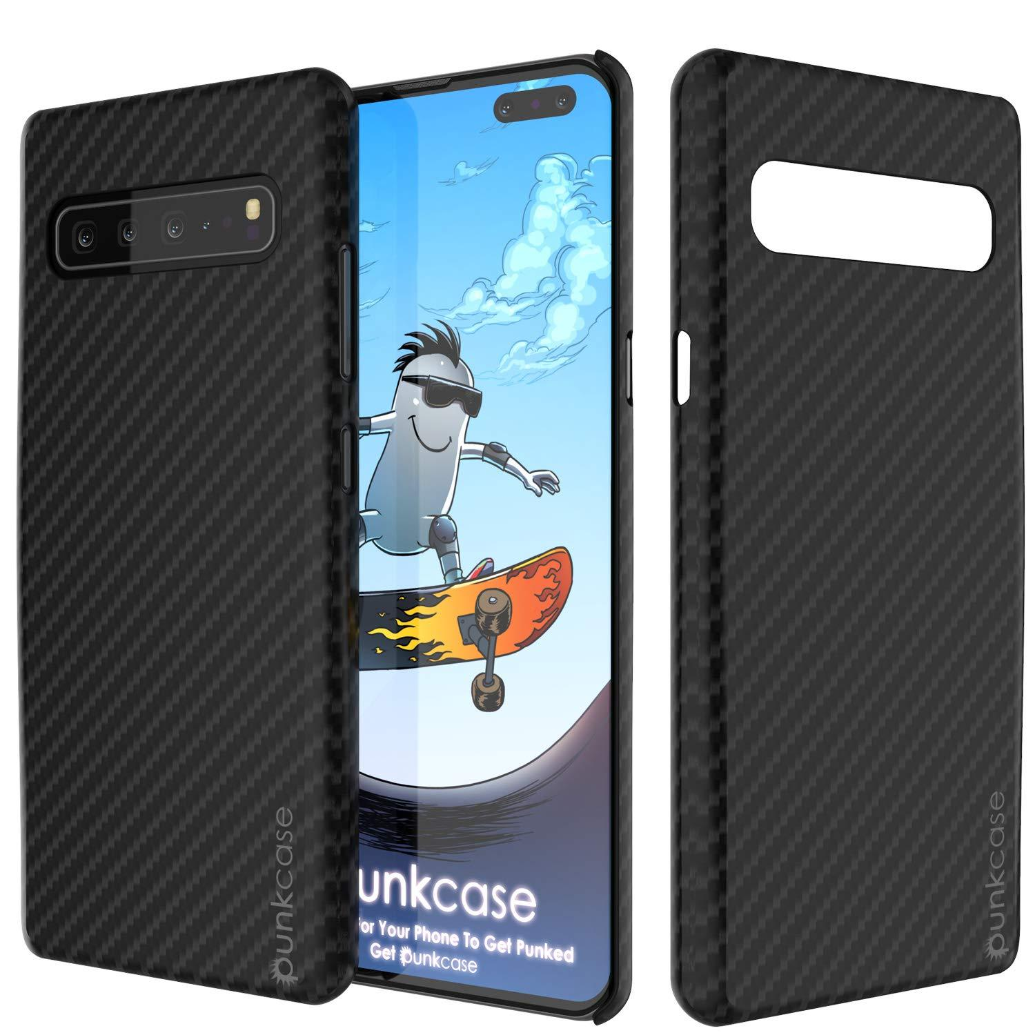 Galaxy S10 5G Case, Punkcase CarbonShield, Heavy Duty & Ultra Thin 2 Piece Dual Layer PU Leather Black Cover