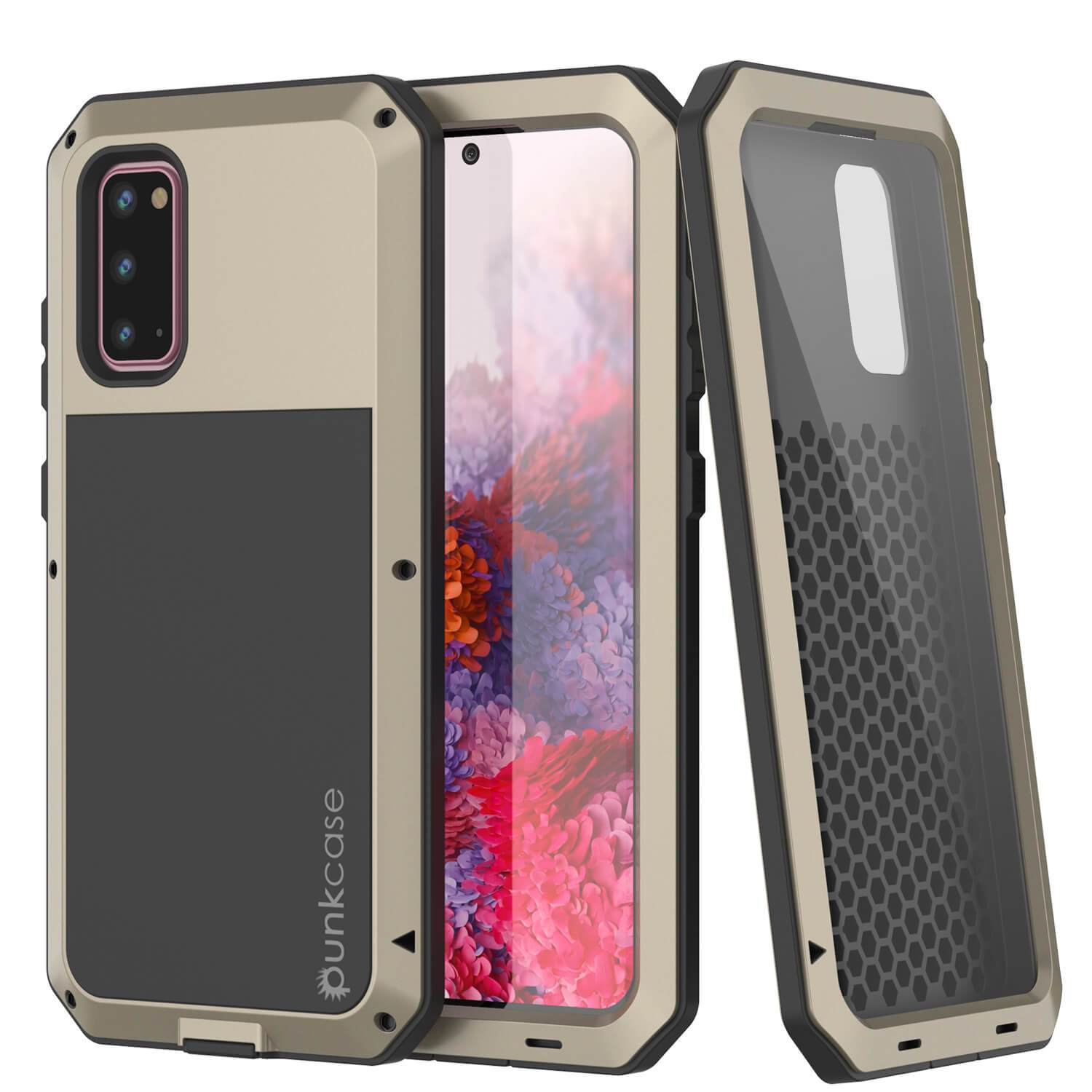 Galaxy s20 Metal Case, Heavy Duty Military Grade Rugged Armor Cover [Gold]