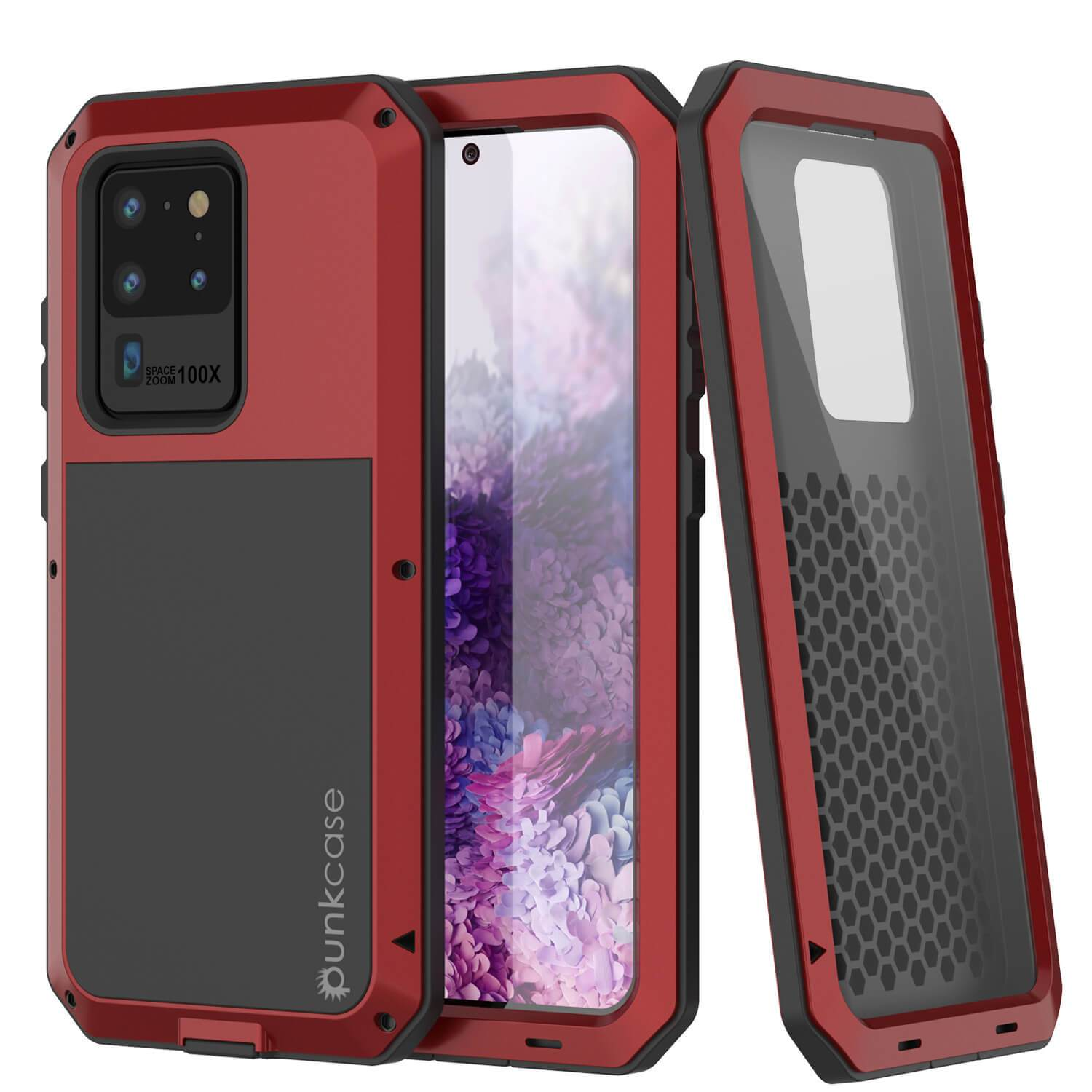 Galaxy S20 Ultra Metal Case, Heavy Duty Military Grade Rugged Armor Cover [Red]
