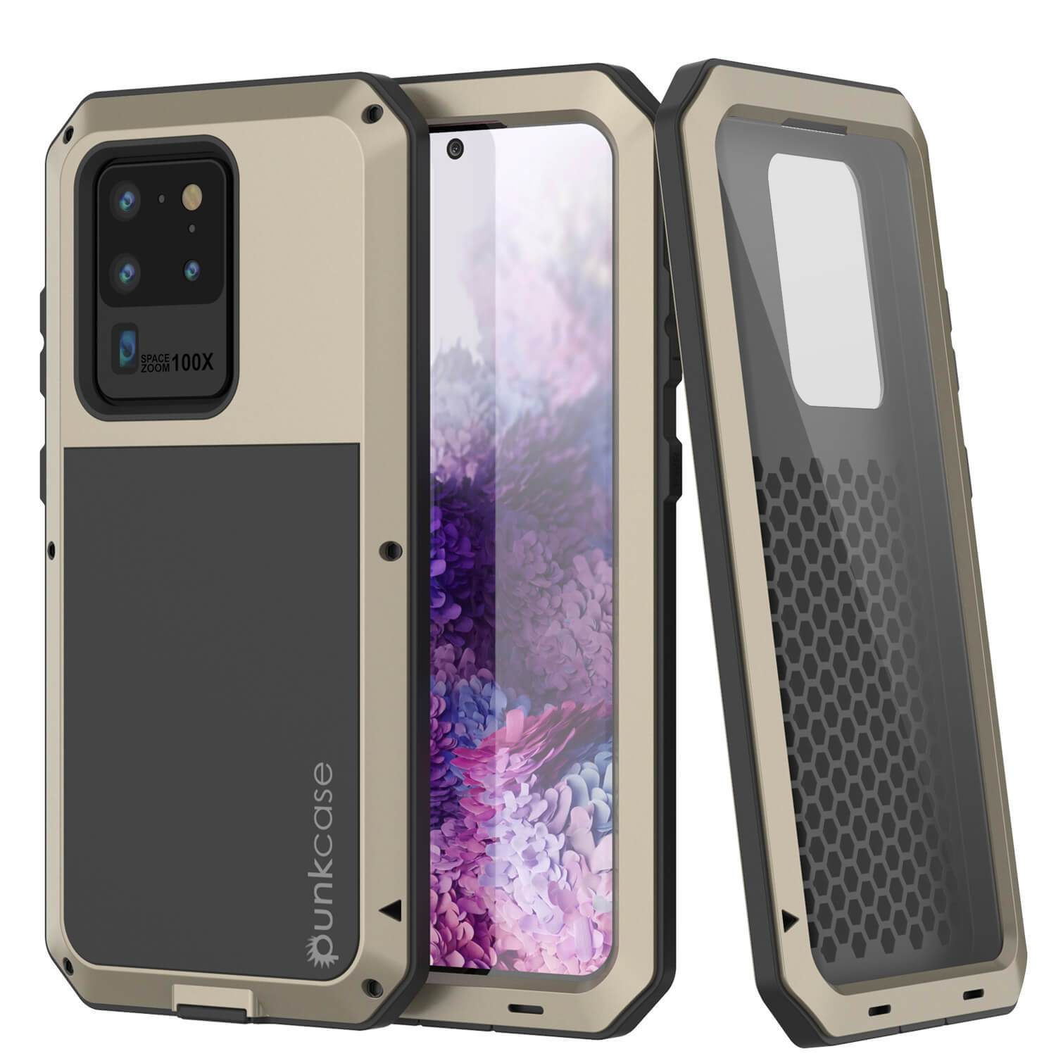 Galaxy S20 Ultra Metal Case, Heavy Duty Military Grade Rugged Armor Cover [Gold]