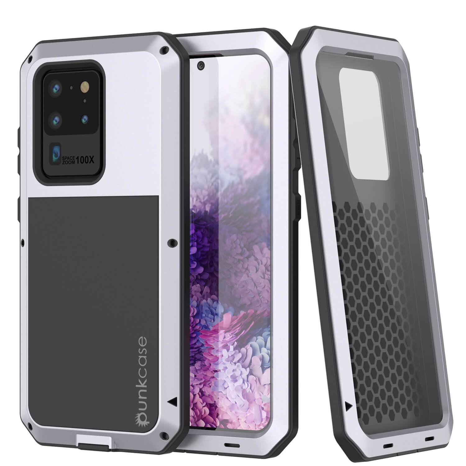 Galaxy S20 Ultra Metal Case, Heavy Duty Military Grade Rugged Armor Cover [White]