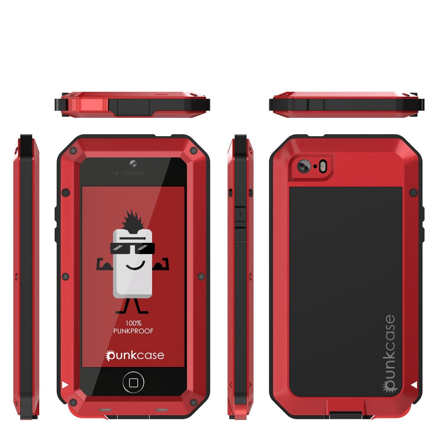 iPhone SE/5/5s Case, Punkcase® METALLIC Series RED w/ TEMPERED GLASS | Aluminum Frame
