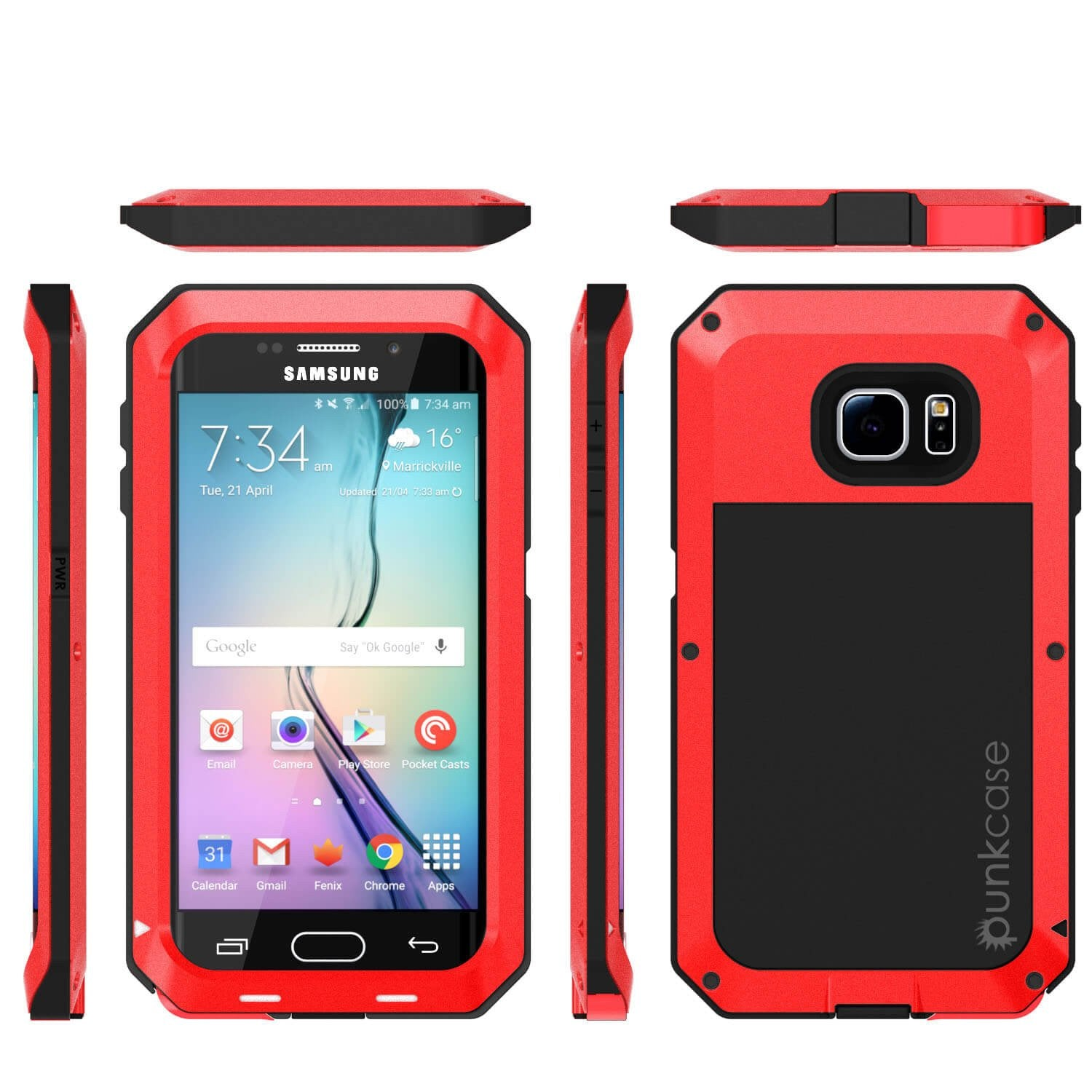 Galaxy S6 EDGE  Case, PUNKcase Metallic Red Shockproof  Slim Metal Armor Case