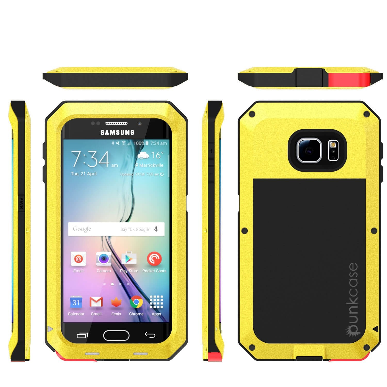 Galaxy S6 EDGE  Case, PUNKcase Metallic Neon Shockproof  Slim Metal Armor Case