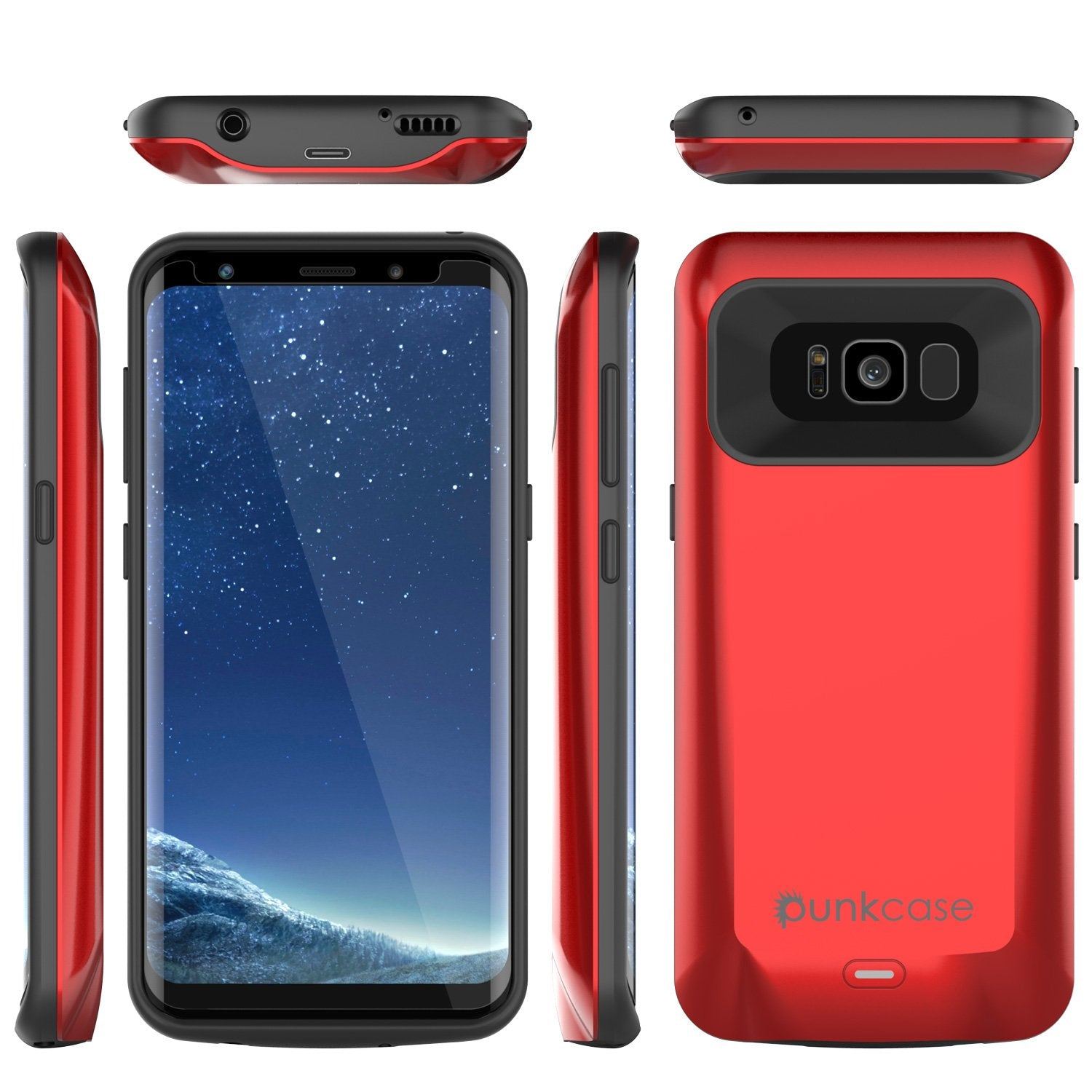 Galaxy S8 Battery Case, Punkcase 5000mAH Charger Red Case