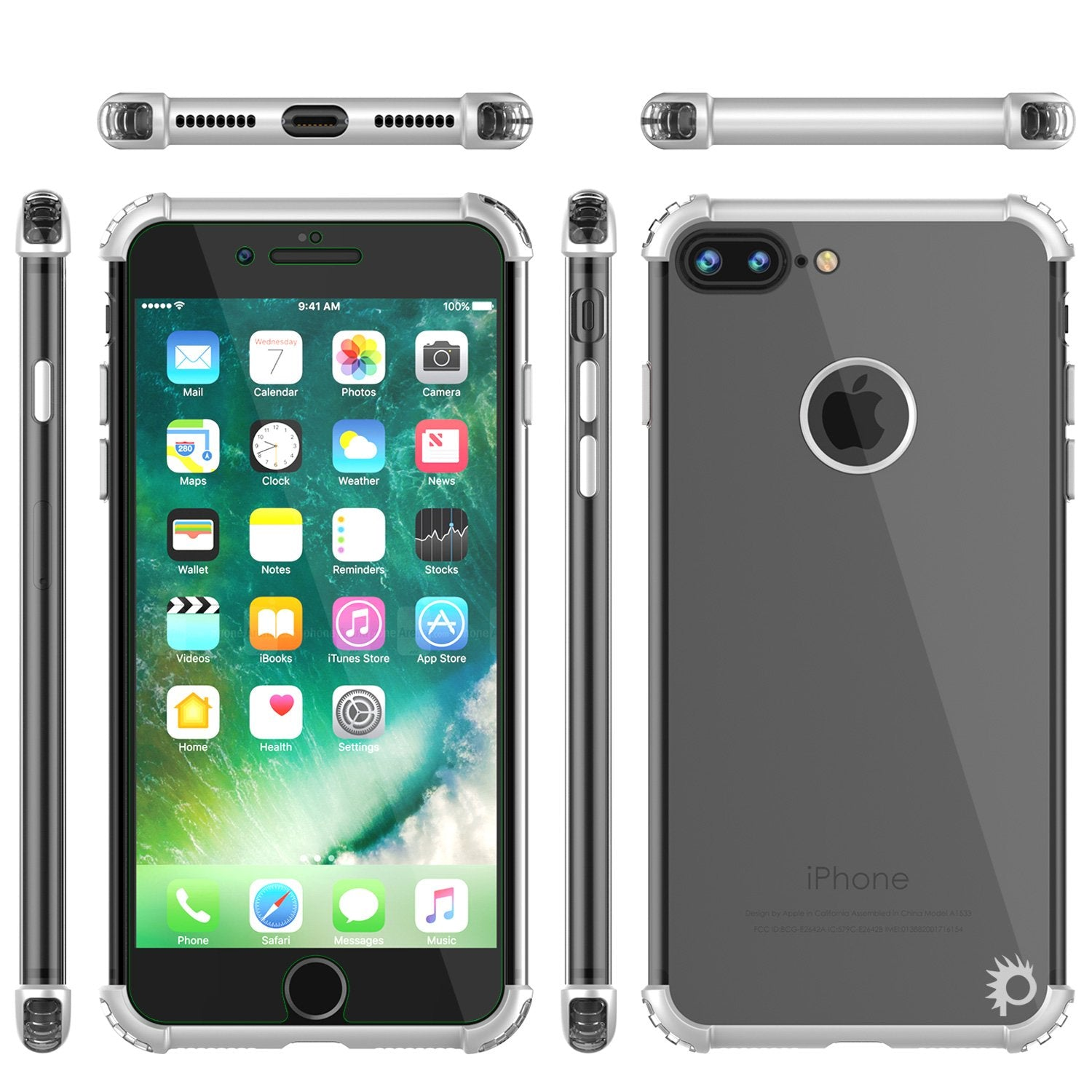 iPhone 7 PLUS Case, Punkcase BLAZE SERIES Protective Cover [Silver]