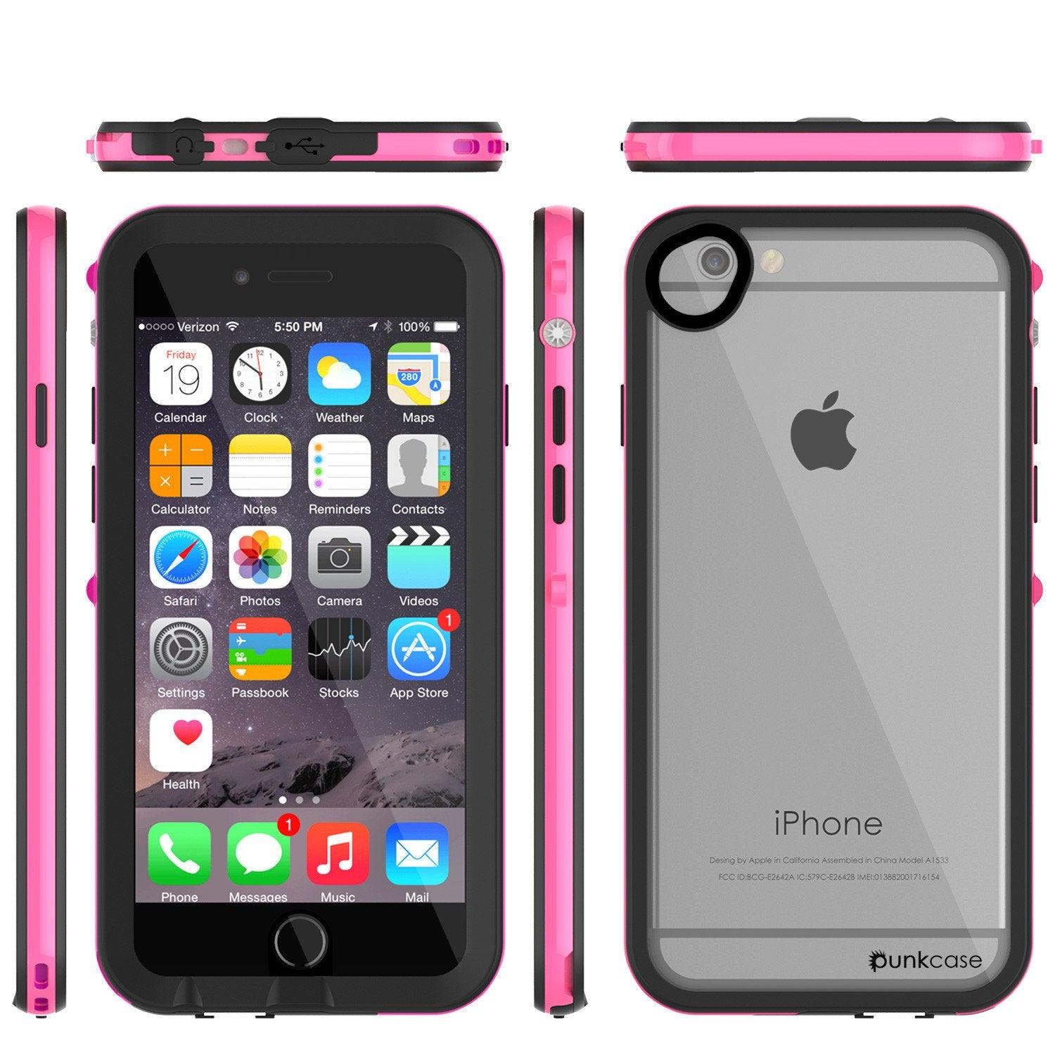 Apple iPhone 7 Waterproof Case, PUNKcase CRYSTAL 2.0 Pink W/ Attached Screen Protector  | Warranty