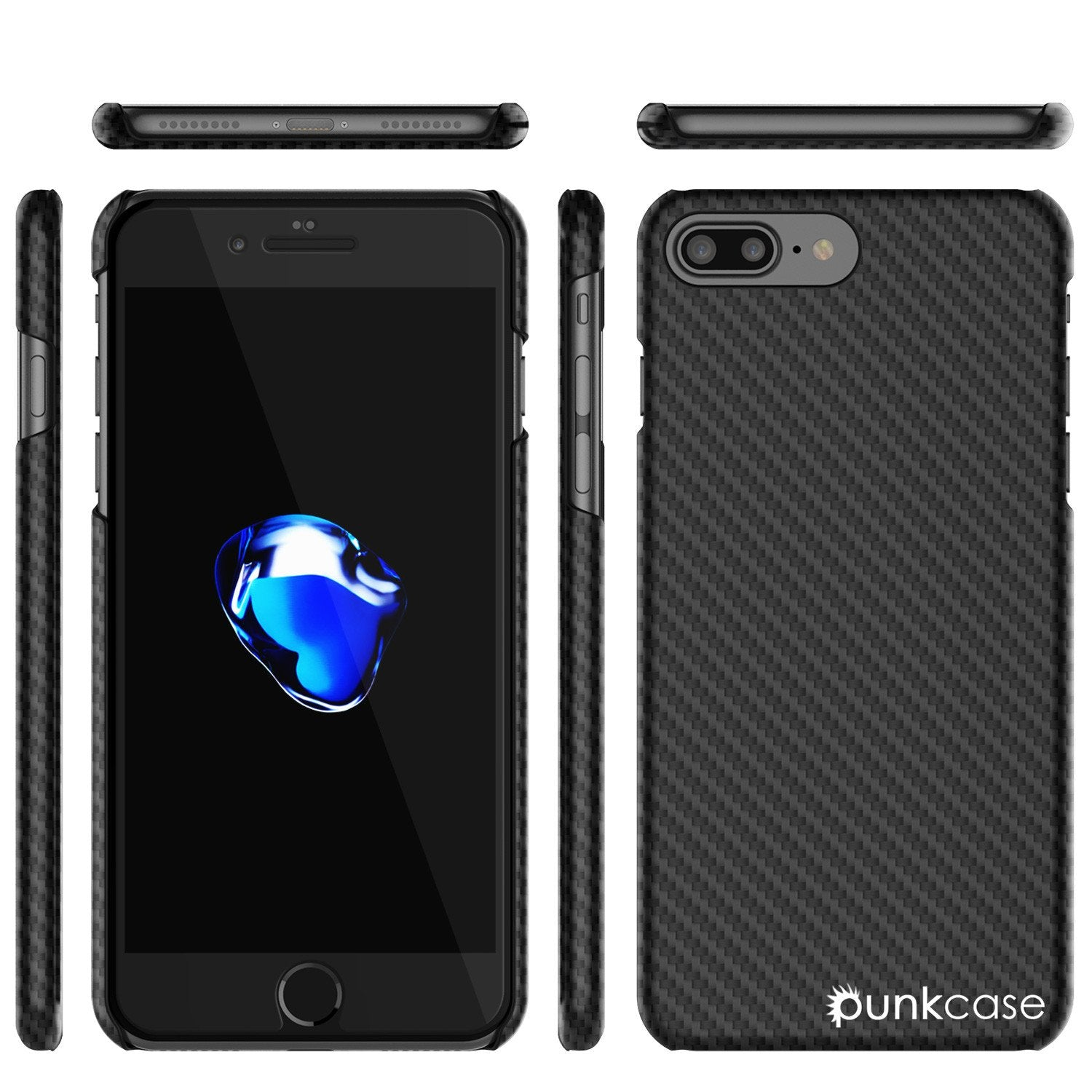 iPhone 7 Plus Case, Punkcase CarbonShield Jet Black with 0.3mm Tempered Glass