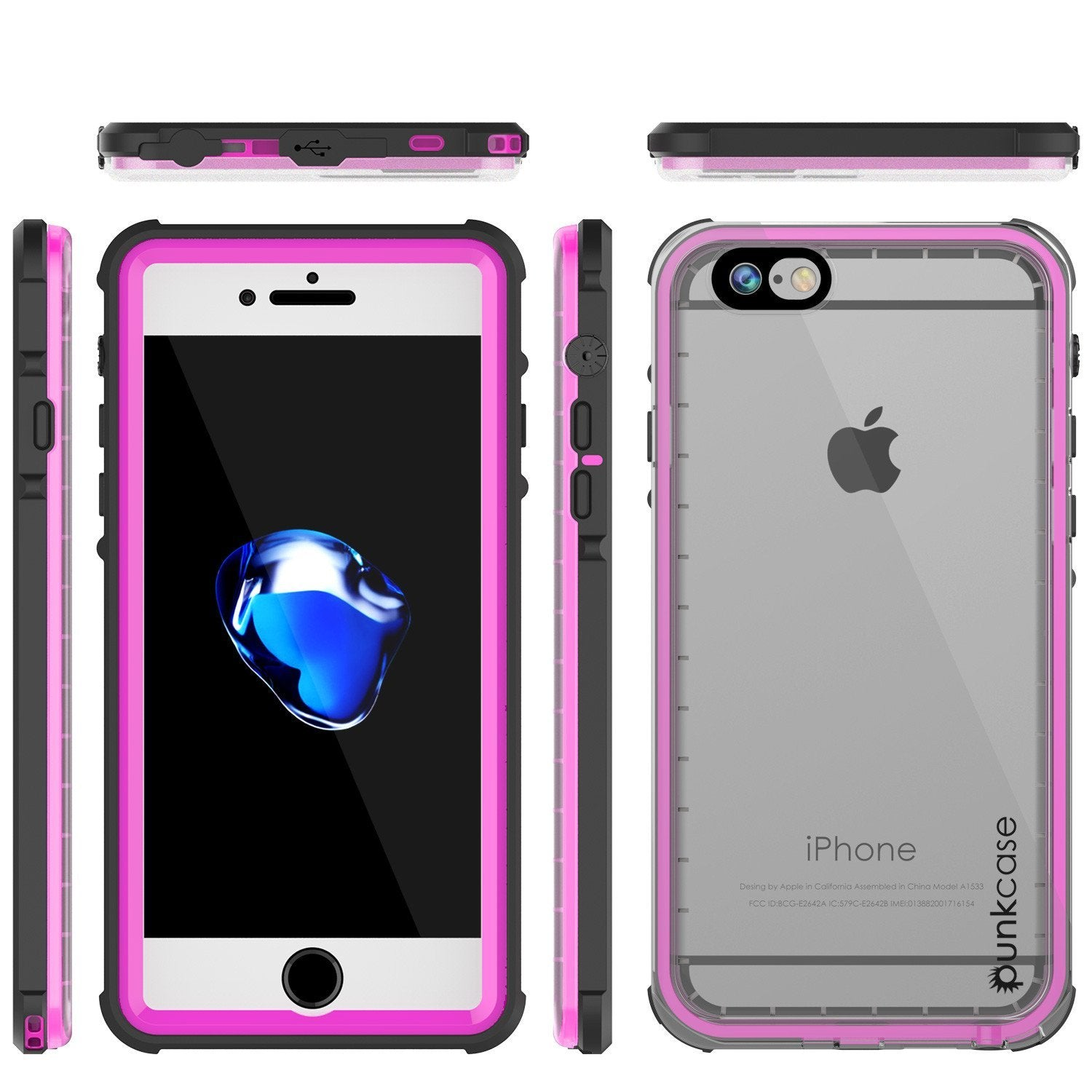 Apple iPhone 8 Waterproof Case, PUNKcase CRYSTAL Pink W/ Attached Screen Protector  | Warranty