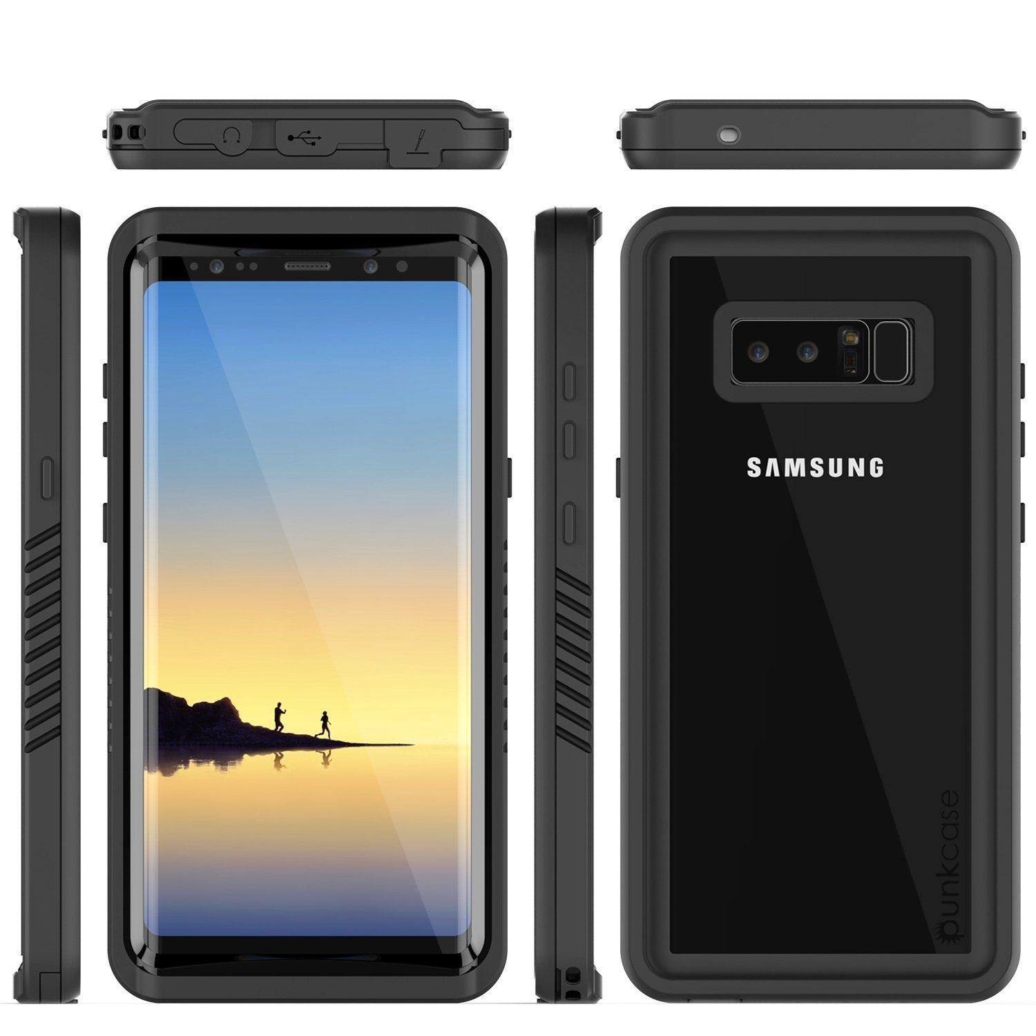 Galaxy Note 8 Case, Punkcase [Extreme Series] [Slim Fit] [IP68 Certified] [Shockproof] Armor Cover W/ Built In Screen Protector [Clear]