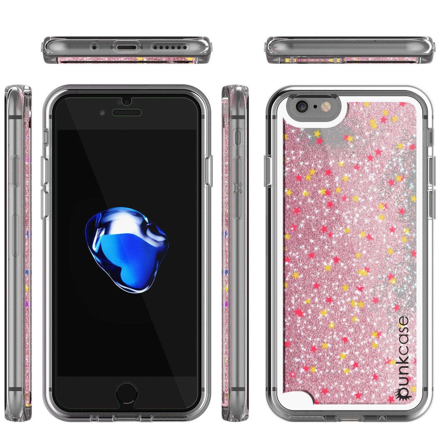 iPhone 7 Case, PunkCase LIQUID Rose Series, Protective Dual Layer Floating Glitter Cover