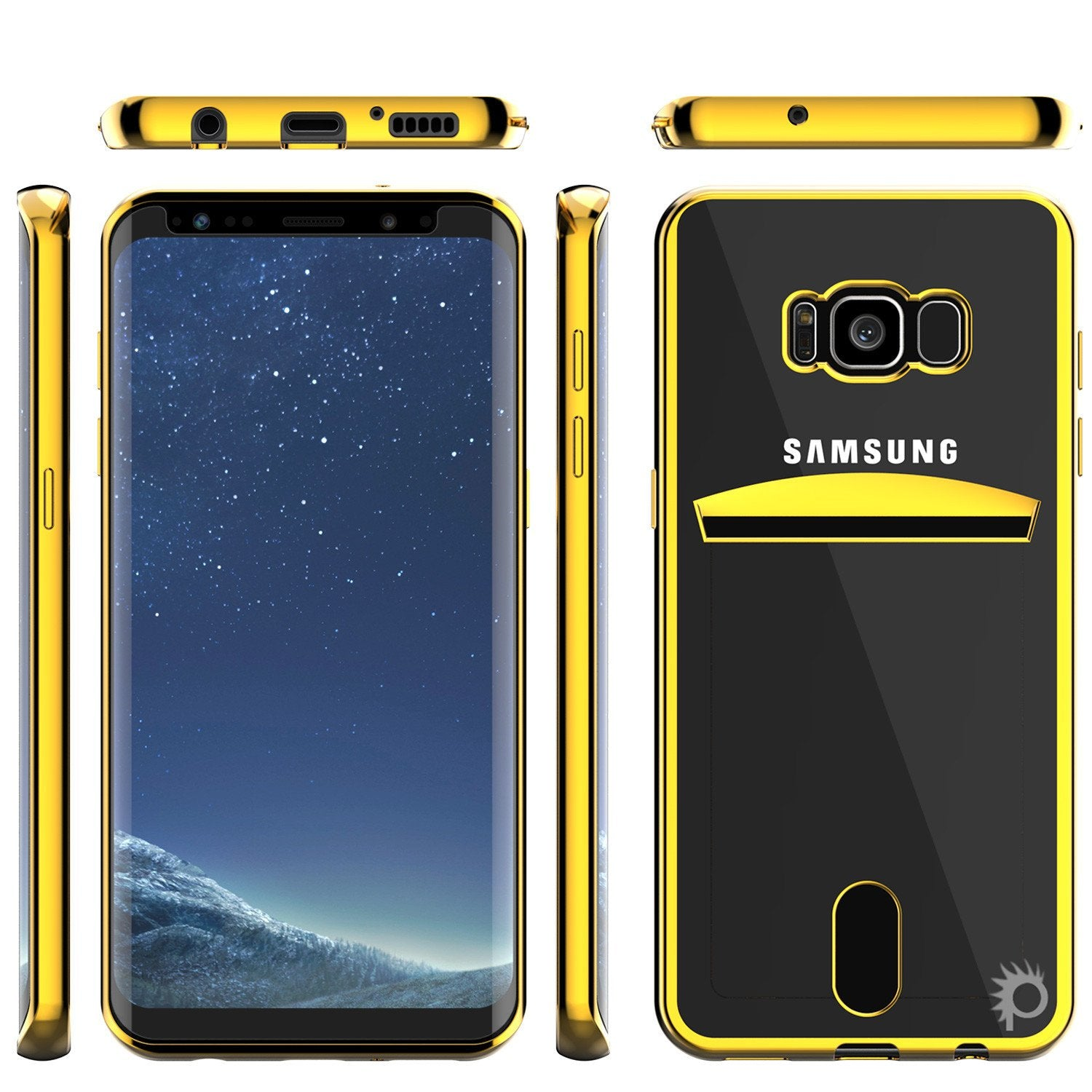 Galaxy S8  Ultra Screen Protector W/ Card Slot Case [Gold]