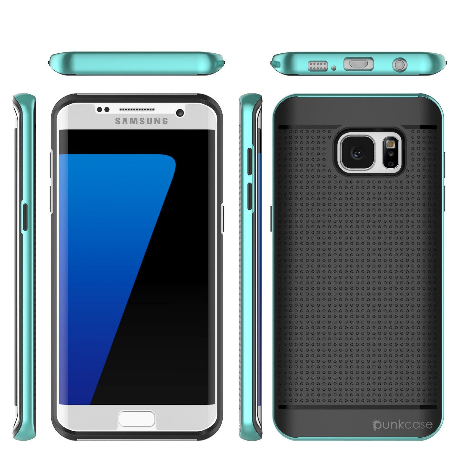 Galaxy S7 Edge Case, PunkCase STEALTH Teal Series Hybrid 3-Piece Shockproof Dual Layer Cover