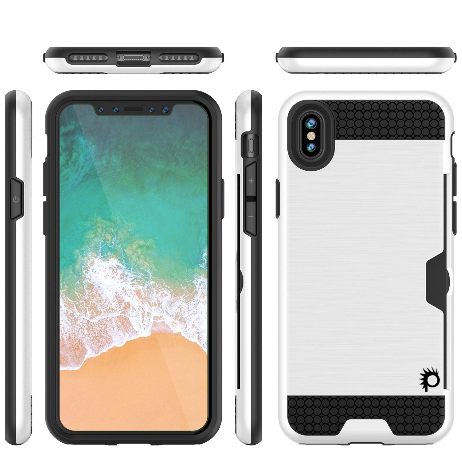 iPhone X Case, PUNKcase [SLOT Series] Slim Fit Dual-Layer Armor Cover & Tempered Glass PUNKSHIELD Screen Protector for Apple iPhone X [White]